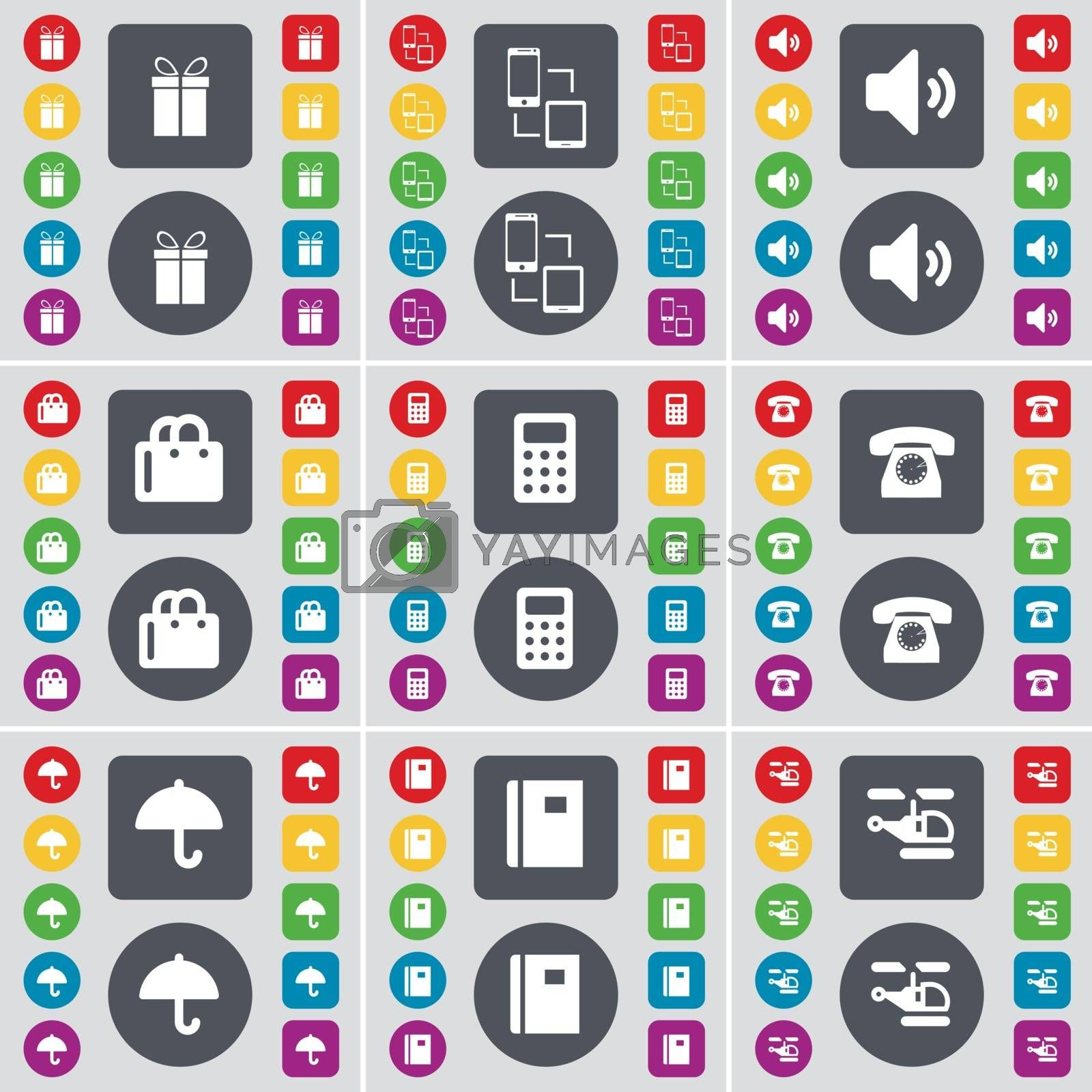 Royalty free image of Gear, Information exchange, Sound, Shopping bag, Calculator, Retro phone, Umbrella, Notebook, Helicopter icon symbol. A large set of flat, colored buttons for your design. Vector by serhii_lohvyniuk