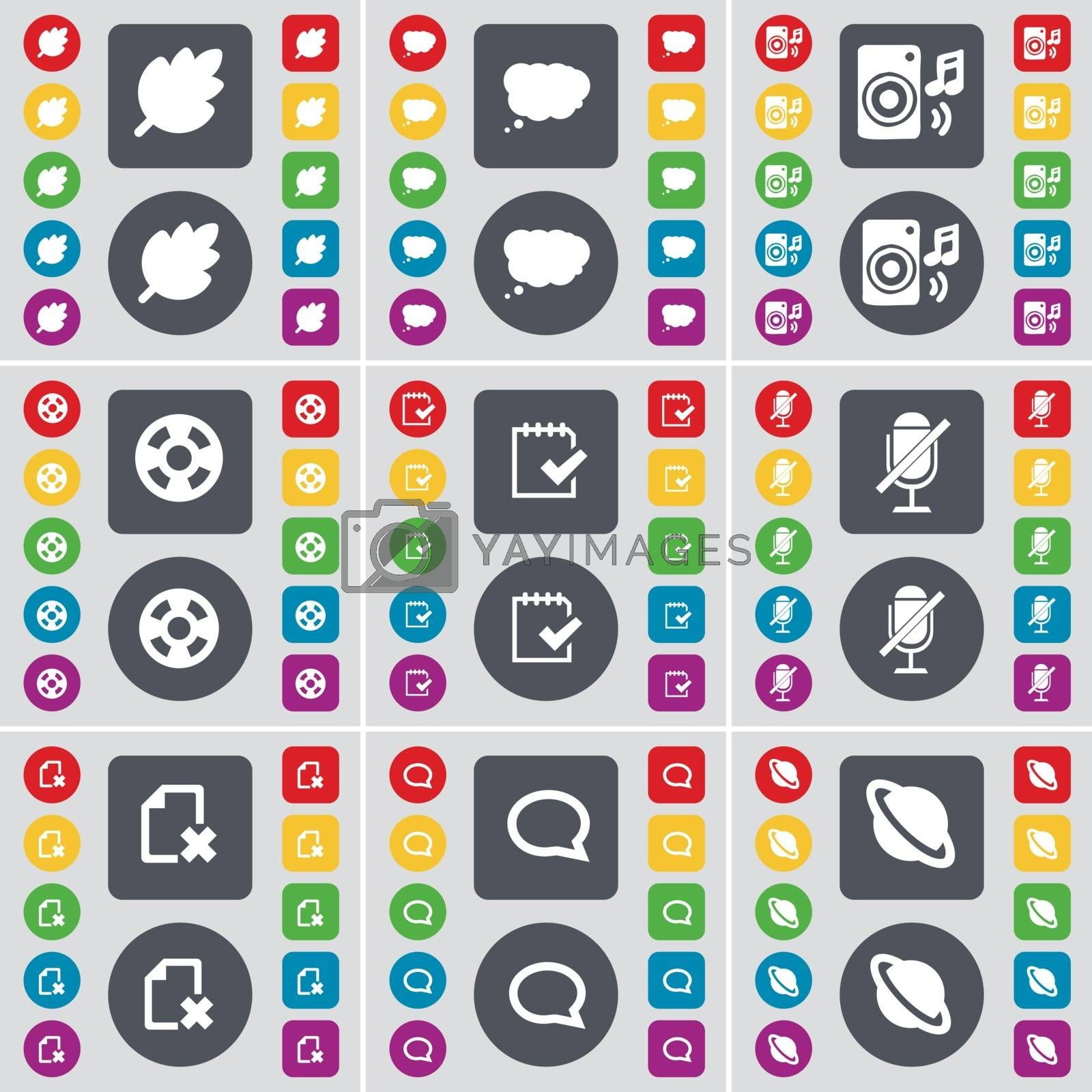 Royalty free image of Leaf, Chat cloud, Speaker, Videotape, Survey, Microphone, File, Chat bubble, Planet icon symbol. A large set of flat, colored buttons for your design. Vector by serhii_lohvyniuk