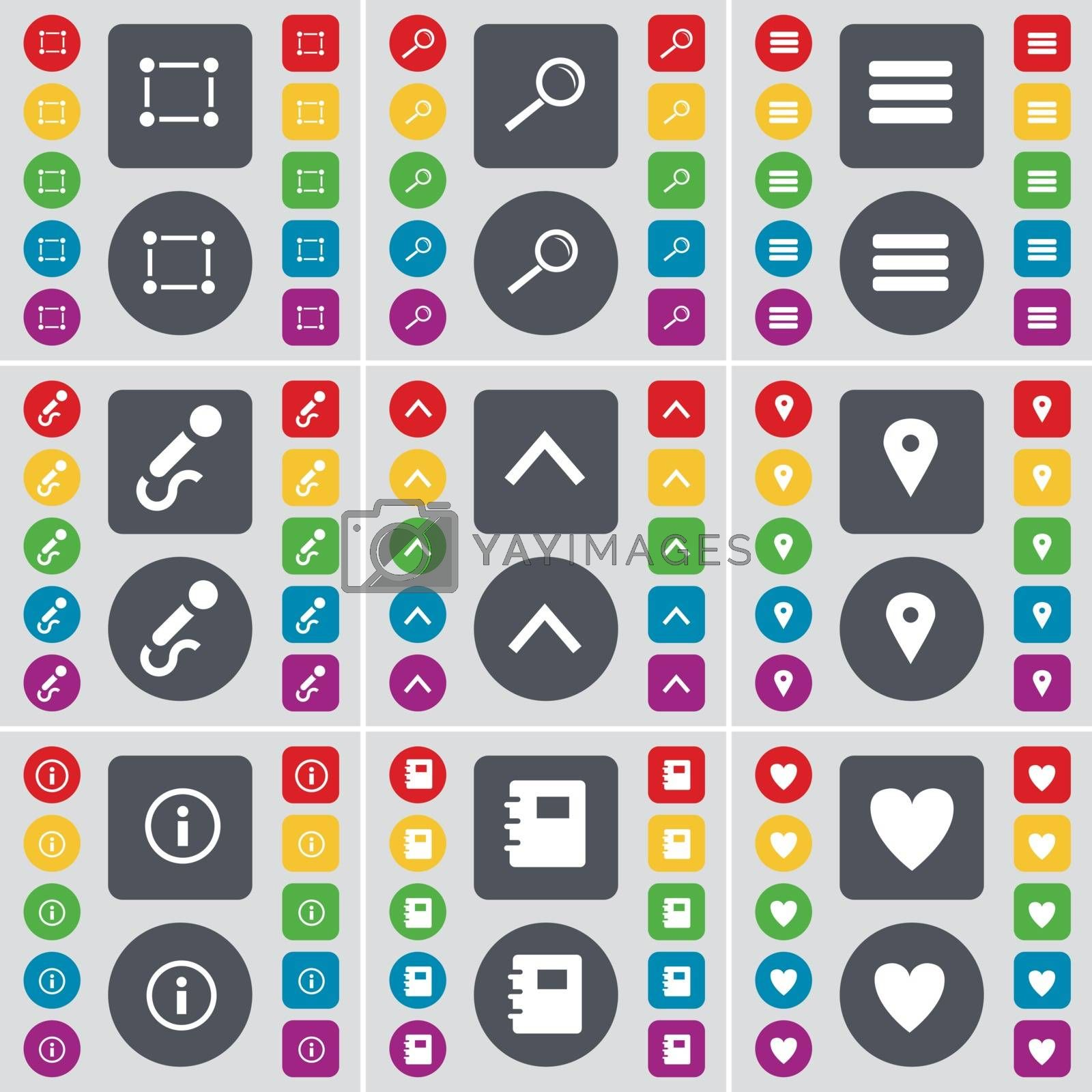 Royalty free image of Frame, Magnifying glass, Apps, Microphone, Arrow up, Checkpoint, Information, Notebook, Heart icon symbol. A large set of flat, colored buttons for your design. Vector by serhii_lohvyniuk