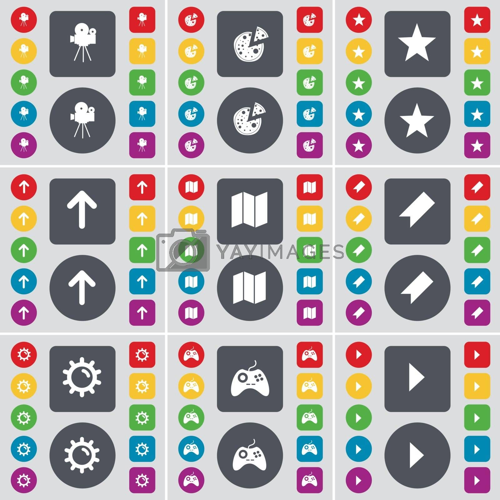 Film camera, Pizza, Starr, Arrow up, Map, Marker, Gear, Gamepad, Media play icon symbol. A large set of flat, colored buttons for your design. Vector by serhii_lohvyniuk