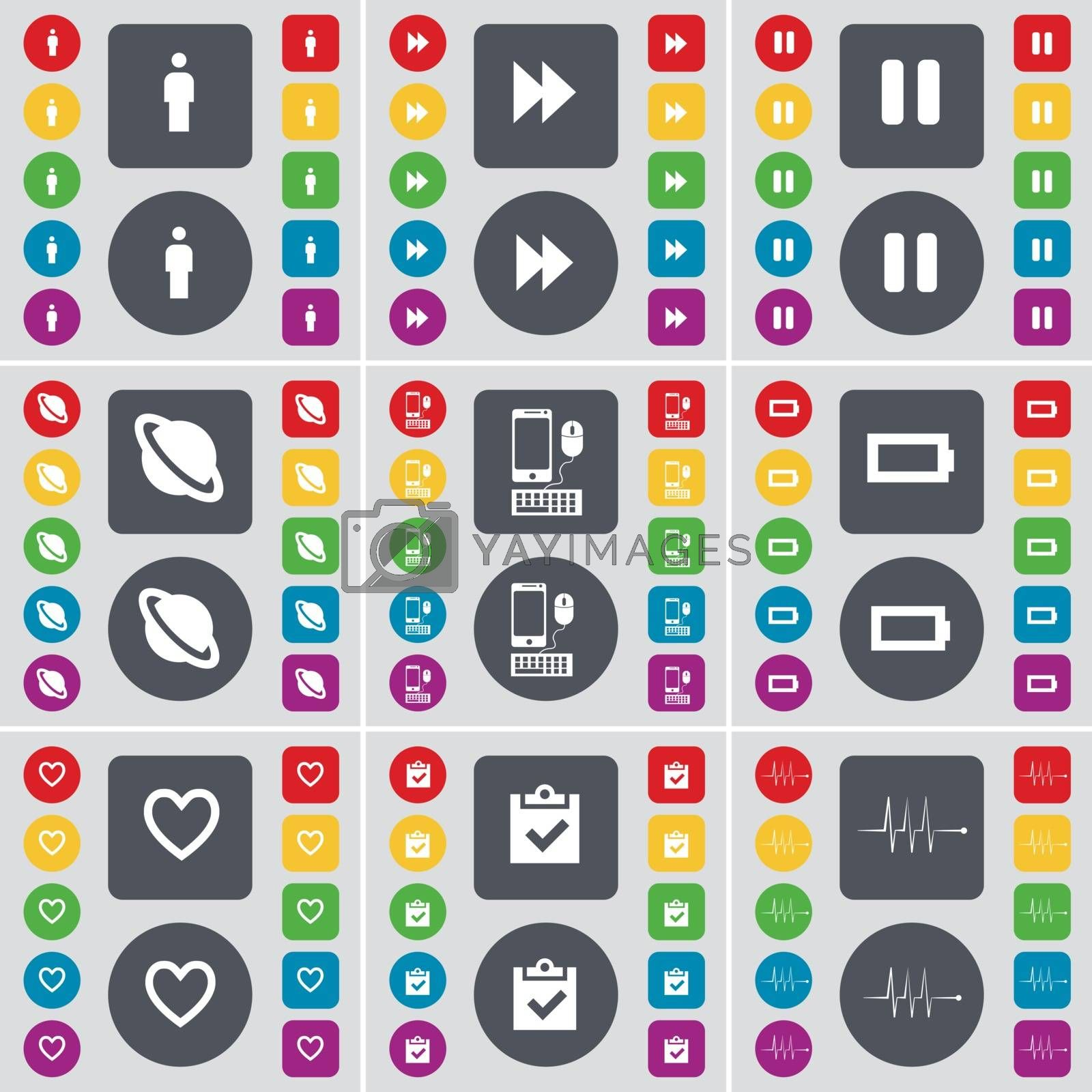 Royalty free image of Silhouette, Rewind, Pause, Planet, Smartphone, Battery, Heart, Survey, Pulse icon symbol. A large set of flat, colored buttons for your design. Vector by serhii_lohvyniuk