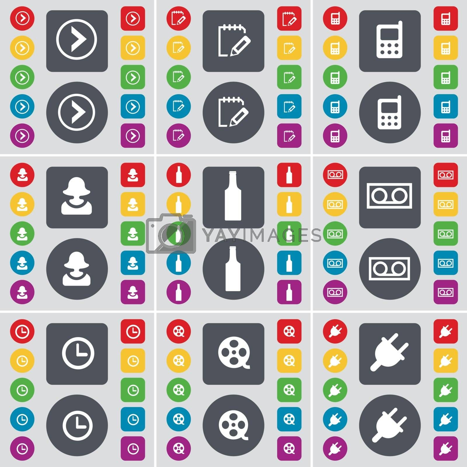 Royalty free image of Arrow right, Survey, Mobile phone, Avatar, Bottle, Cassette, Clock, Videotape, Socket icon symbol. A large set of flat, colored buttons for your design. Vector by serhii_lohvyniuk