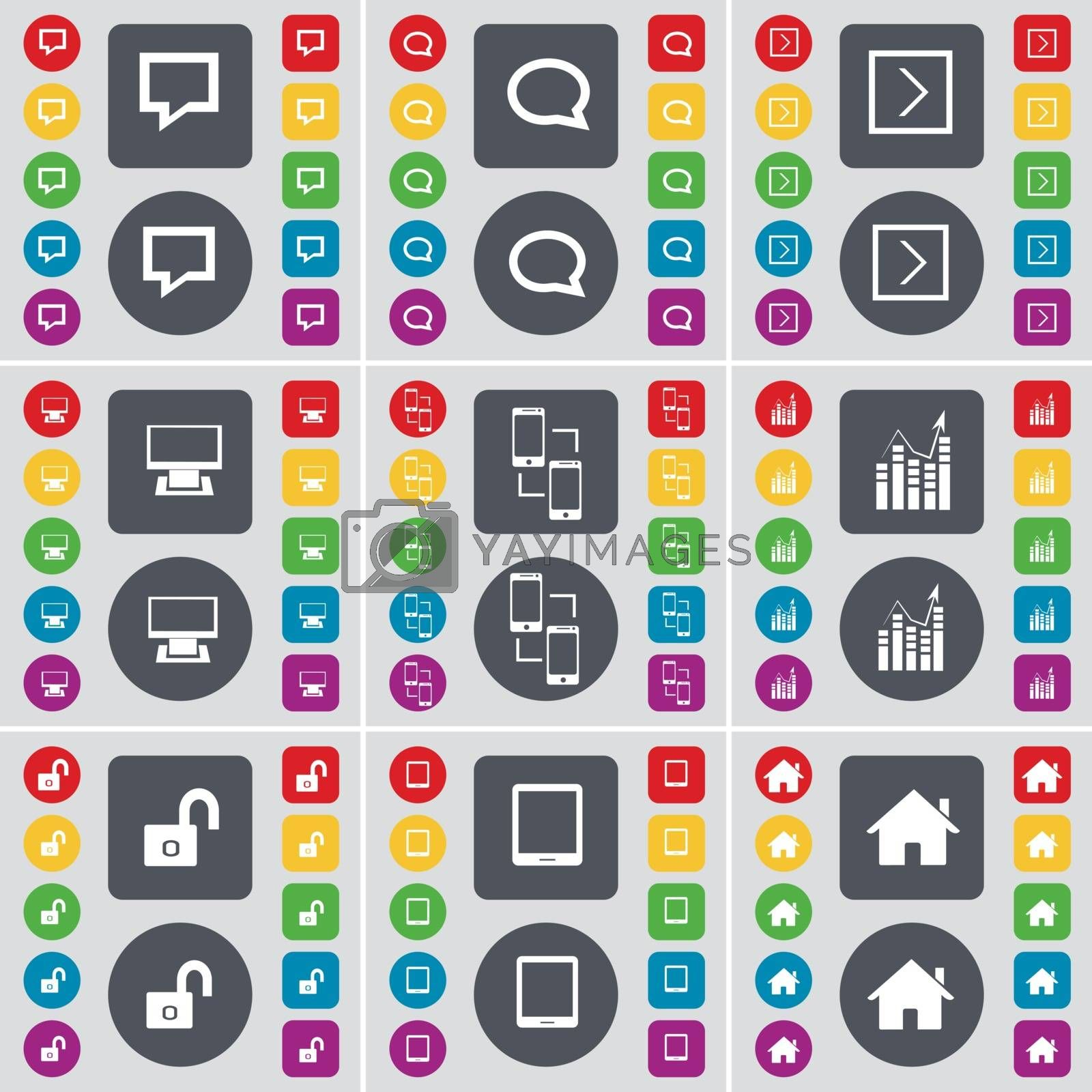 Royalty free image of Chat bubble, Arrow right, Monitor, Information exchange, Graph, Lock, Tablet PC, House icon symbol. A large set of flat, colored buttons for your design. Vector by serhii_lohvyniuk