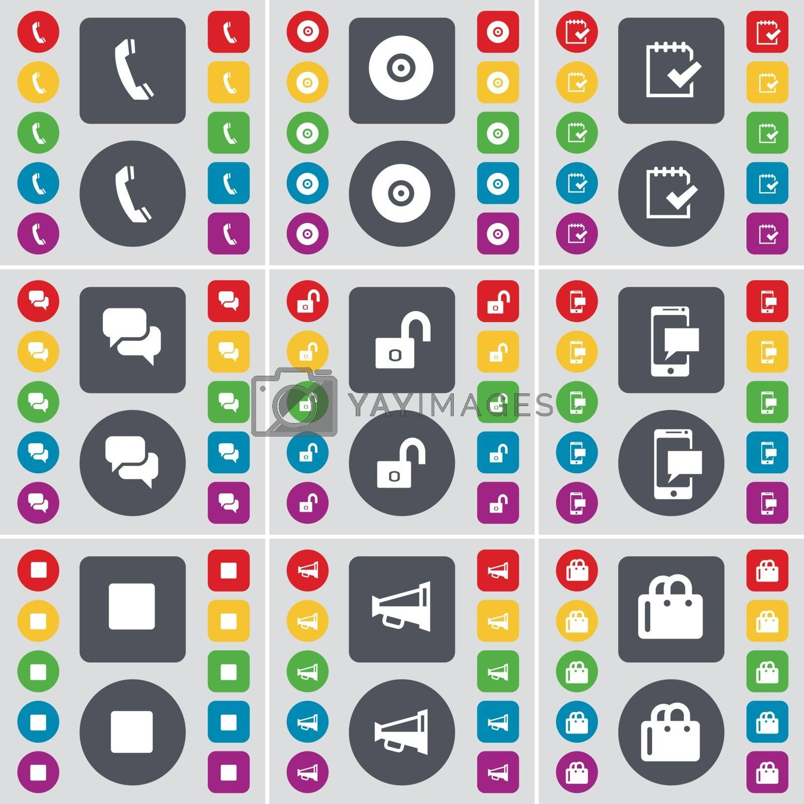 Royalty free image of Receiver, Disk, Survey, Chat, Lock, SMS, Media stop, Megaphone, Shopping bag icon symbol. A large set of flat, colored buttons for your design. Vector by serhii_lohvyniuk