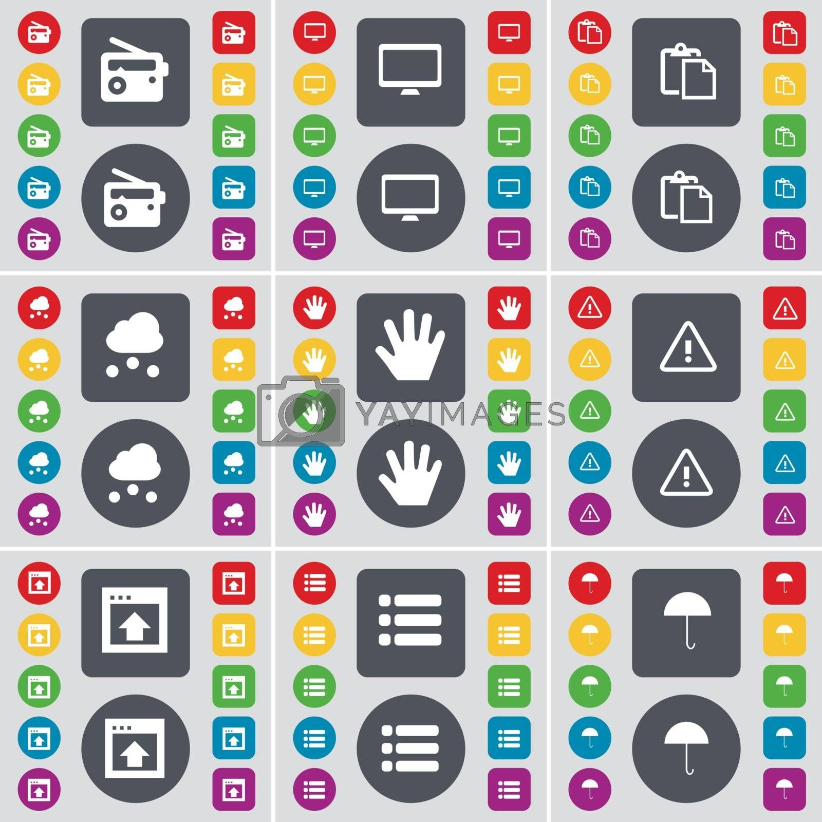 Royalty free image of Radio, Monitor, Survey, Cloud, Hand, Warning, Window, List, Umbrella icon symbol. A large set of flat, colored buttons for your design. Vector by serhii_lohvyniuk