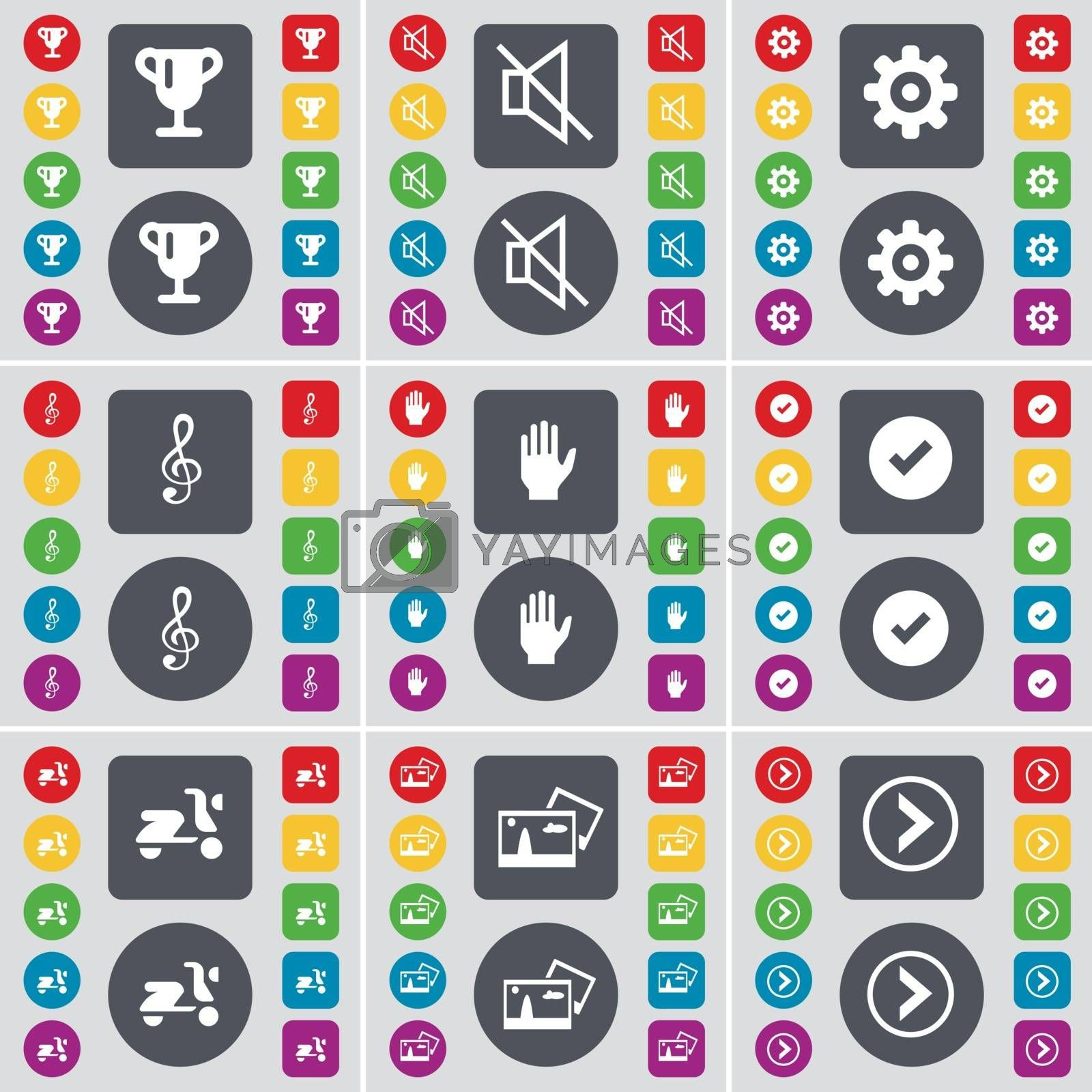 Royalty free image of Cup, Mute, Gear, Clef, Hand, Tick, Scooter, Picture, Arrow right icon symbol. A large set of flat, colored buttons for your design. Vector by serhii_lohvyniuk