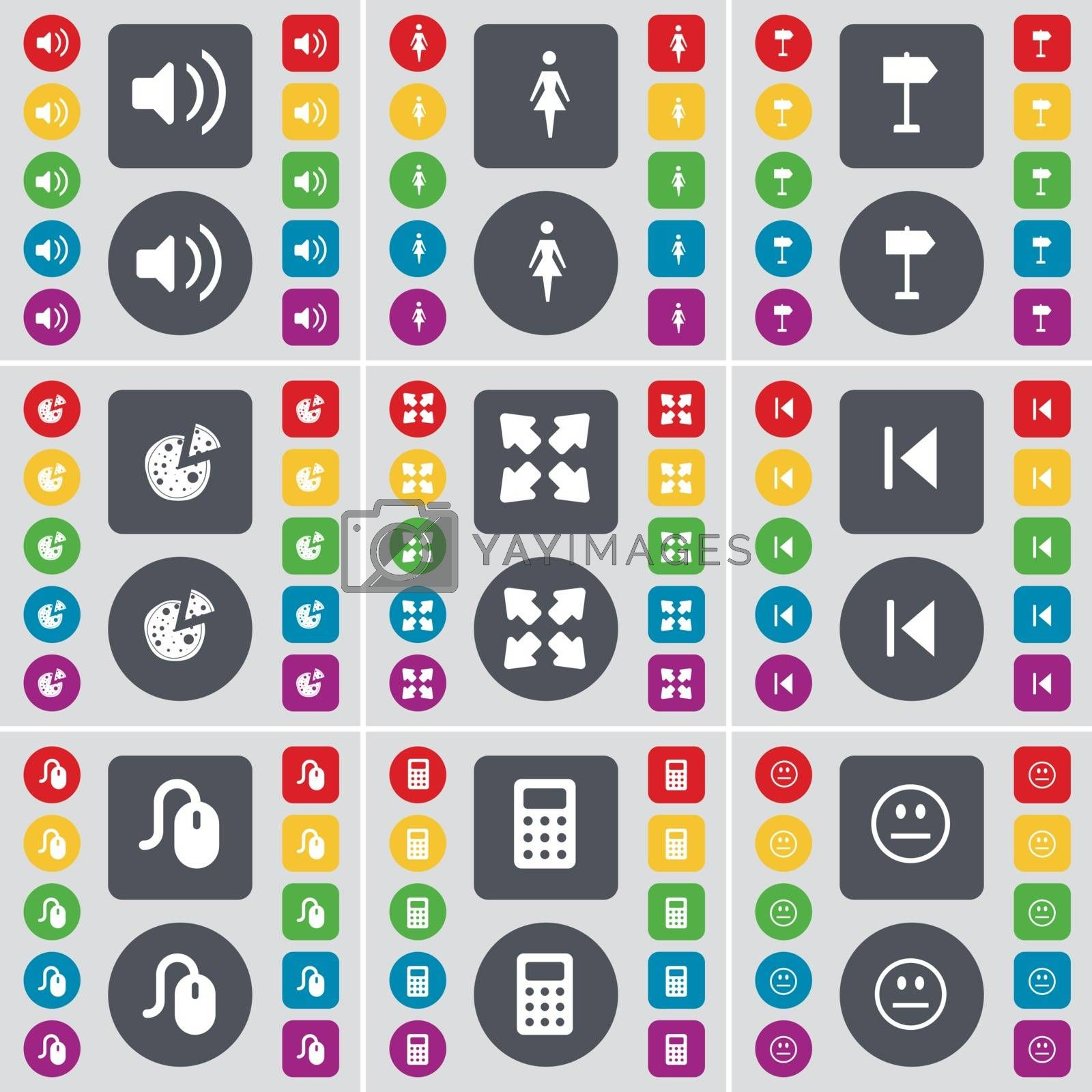 Royalty free image of Sound, Silhouette, Signpost, Pizza, Full screen, Media skip, Mouse, Calendar, Smile icon symbol. A large set of flat, colored buttons for your design. Vector by serhii_lohvyniuk