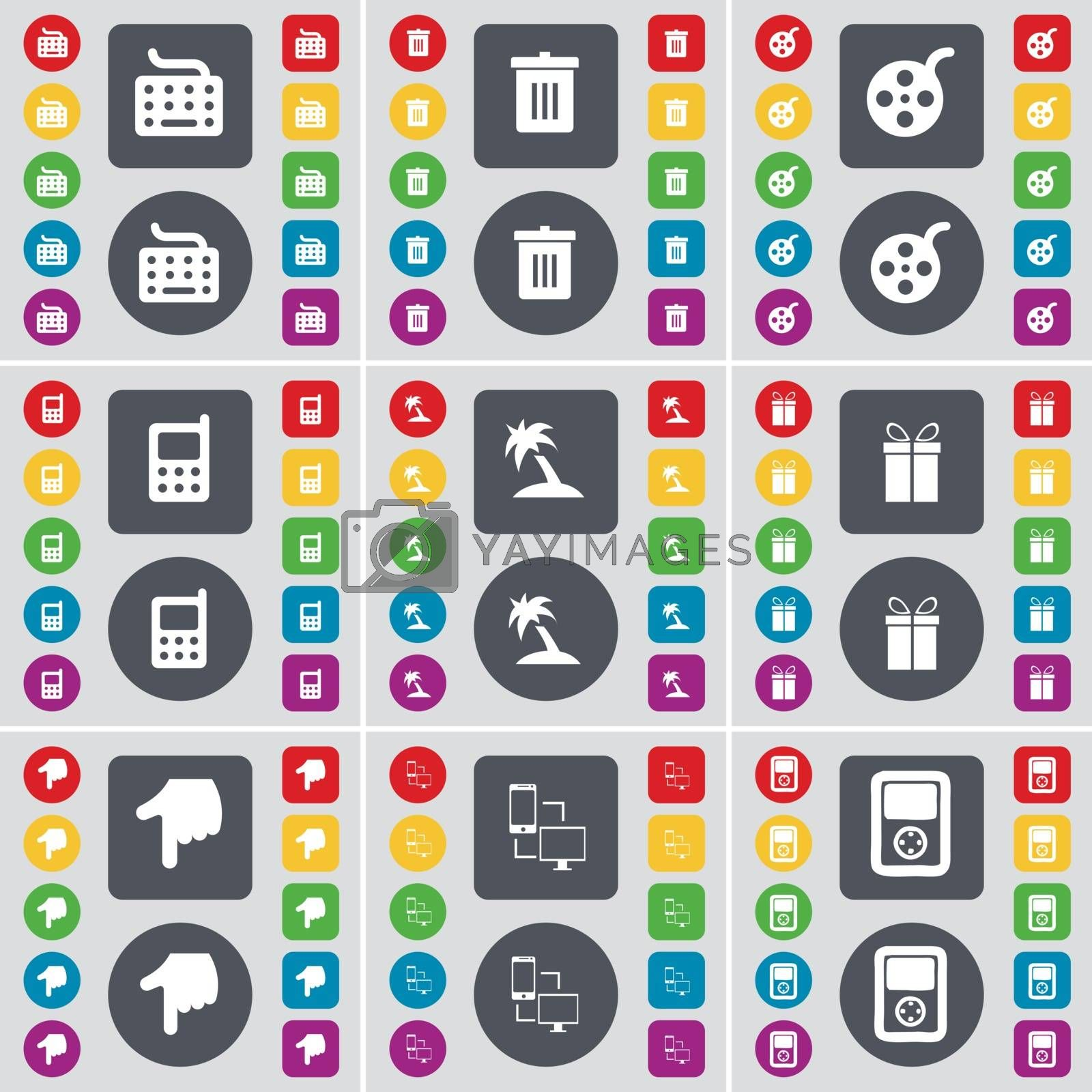 Keyboard, Trash can, Videotape, Mobile phone, Palm, Gift, Hand, Information exchange, Player icon symbol. A large set of flat, colored buttons for your design. Vector by serhii_lohvyniuk