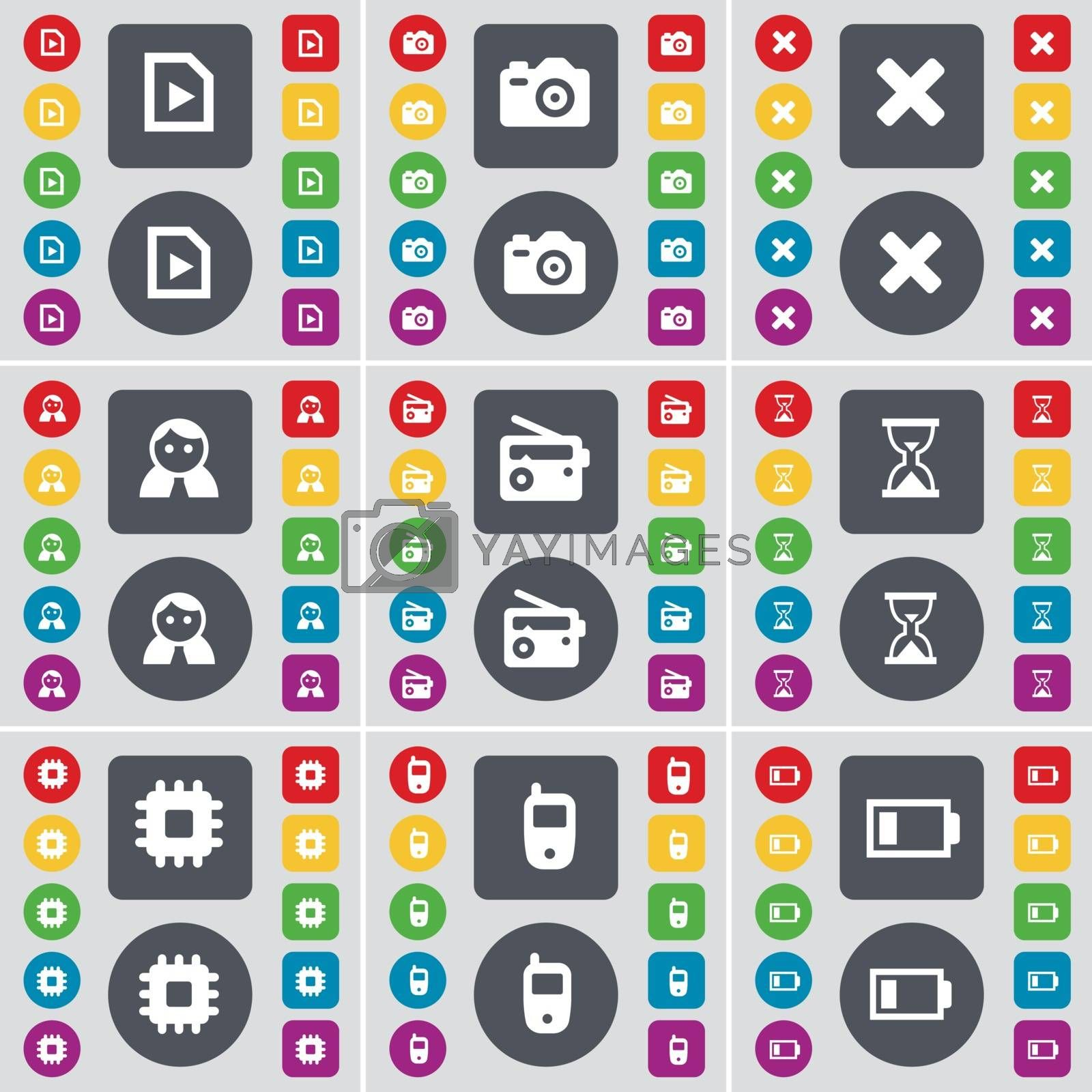 Royalty free image of Media file, Camera, Stop, Avatar, Radio, Hourglass, Processor, Mobile phone, Battery icon symbol. A large set of flat, colored buttons for your design. Vector by serhii_lohvyniuk