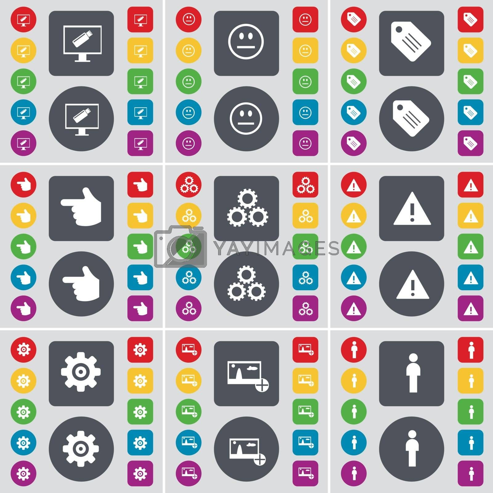 Royalty free image of Monitor, Smile, Tag, Hand, Gear, Warning, Gear, Picture, Silhouette icon symbol. A large set of flat, colored buttons for your design. Vector by serhii_lohvyniuk