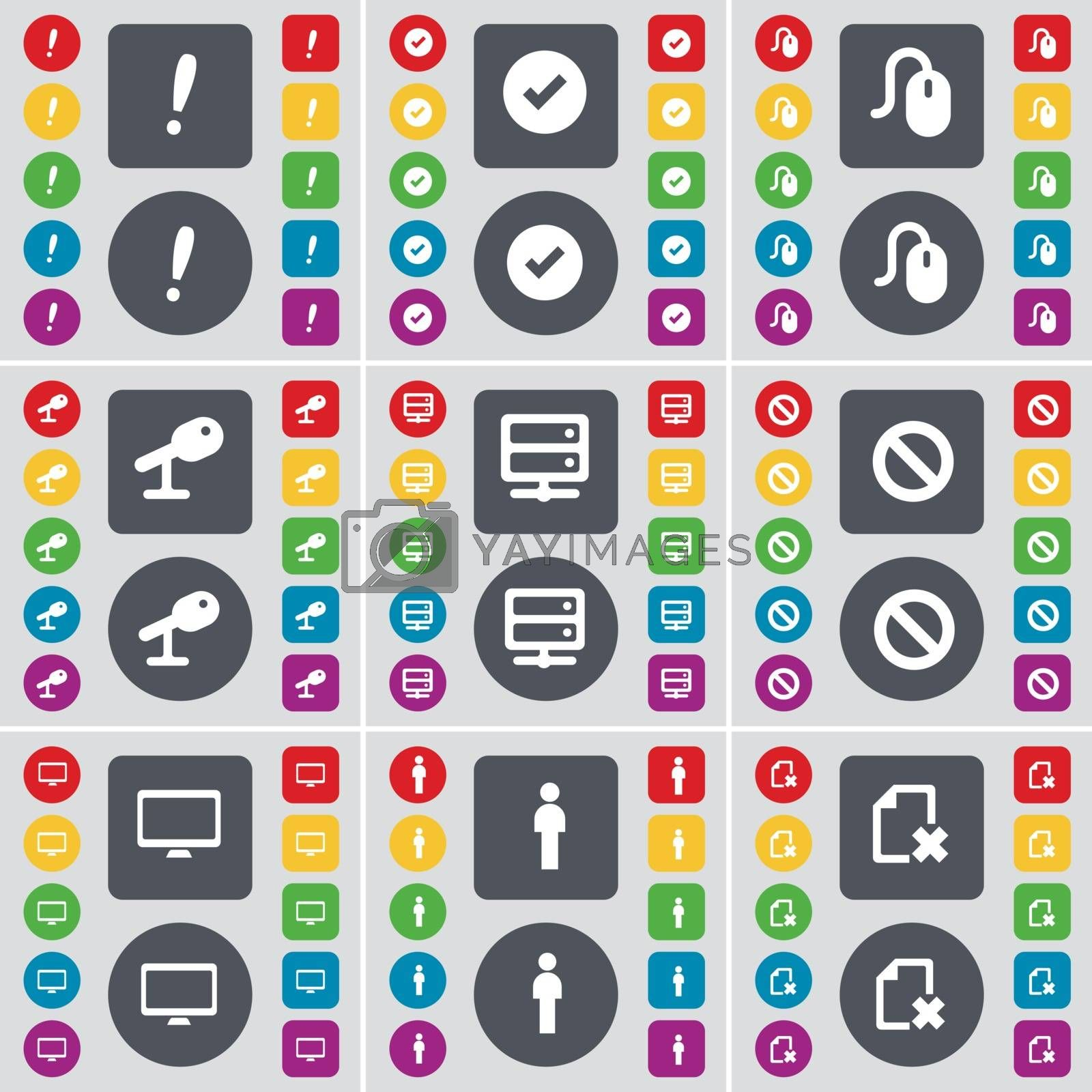 Exclamation mark, Tick, Mouse, Microphone, Server, Stop, Monitor, Silhouette, File icon symbol. A large set of flat, colored buttons for your design. Vector by serhii_lohvyniuk
