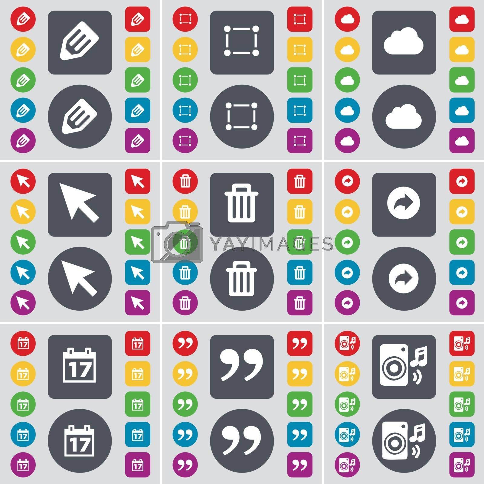 Royalty free image of Pencil, Frame, Cloud, Cursor, Trash can, Back, Calendar, Quotation mark, Speaker icon symbol. A large set of flat, colored buttons for your design. Vector by serhii_lohvyniuk