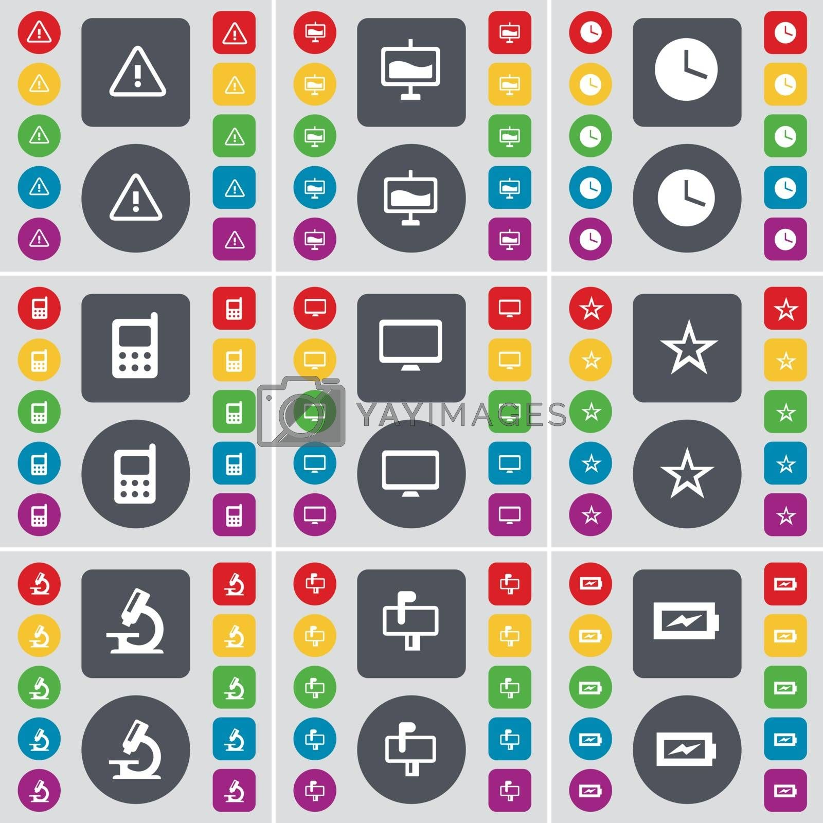 Royalty free image of Warning, Graph, Clock, Mobile phone, Monitor, Star, Microscope, Mailbox, Charging icon symbol. A large set of flat, colored buttons for your design. Vector by serhii_lohvyniuk