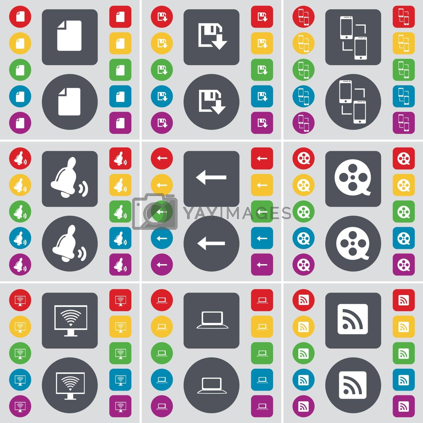 Royalty free image of File, Floppy, Connection, Bell, Arrow left, Videotape, Monitor, Laptop, RSS icon symbol. A large set of flat, colored buttons for your design. Vector by serhii_lohvyniuk