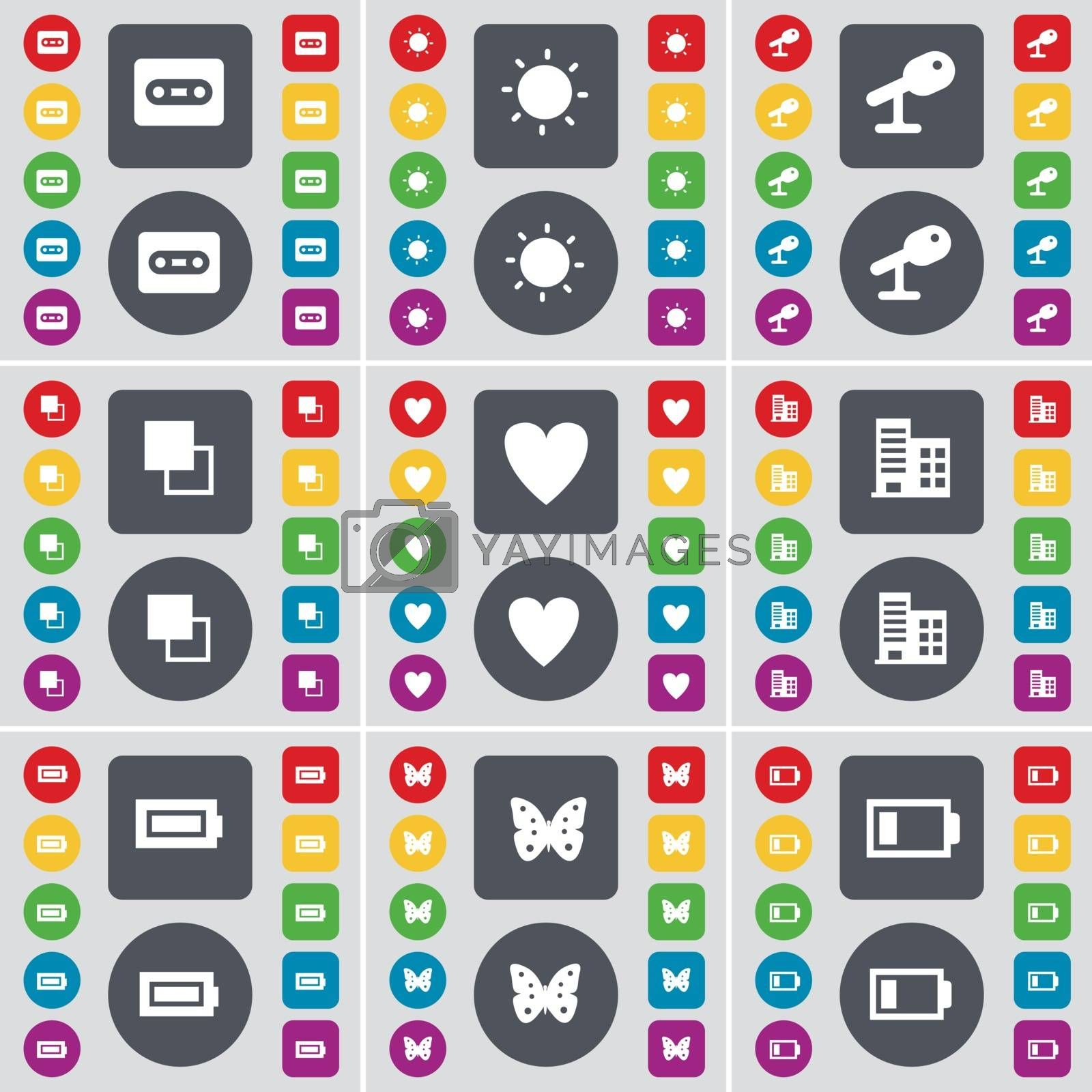 Royalty free image of Cassette, Light, Microphone, Copy, Heart, Building, Battery, Butterfly icon symbol. A large set of flat, colored buttons for your design. Vector by serhii_lohvyniuk
