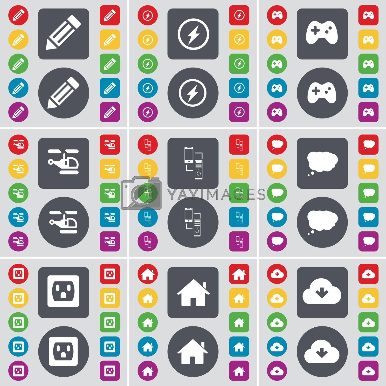 Royalty free image of Pencil, Flash, Gamepad, Helicopter, Connection, Chat cloud, Socket, House, Cloud icon symbol. A large set of flat, colored buttons for your design. Vector by serhii_lohvyniuk