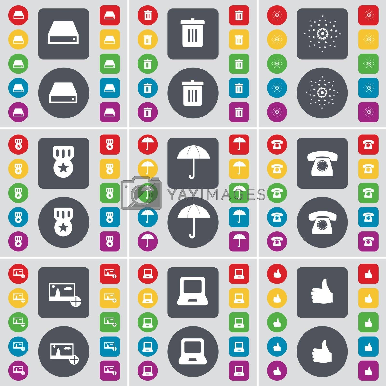 Royalty free image of Hard drive, Trash can, Star, Medal, Umbrella, Retro phone, Picture, Laptop, Like icon symbol. A large set of flat, colored buttons for your design. Vector by serhii_lohvyniuk