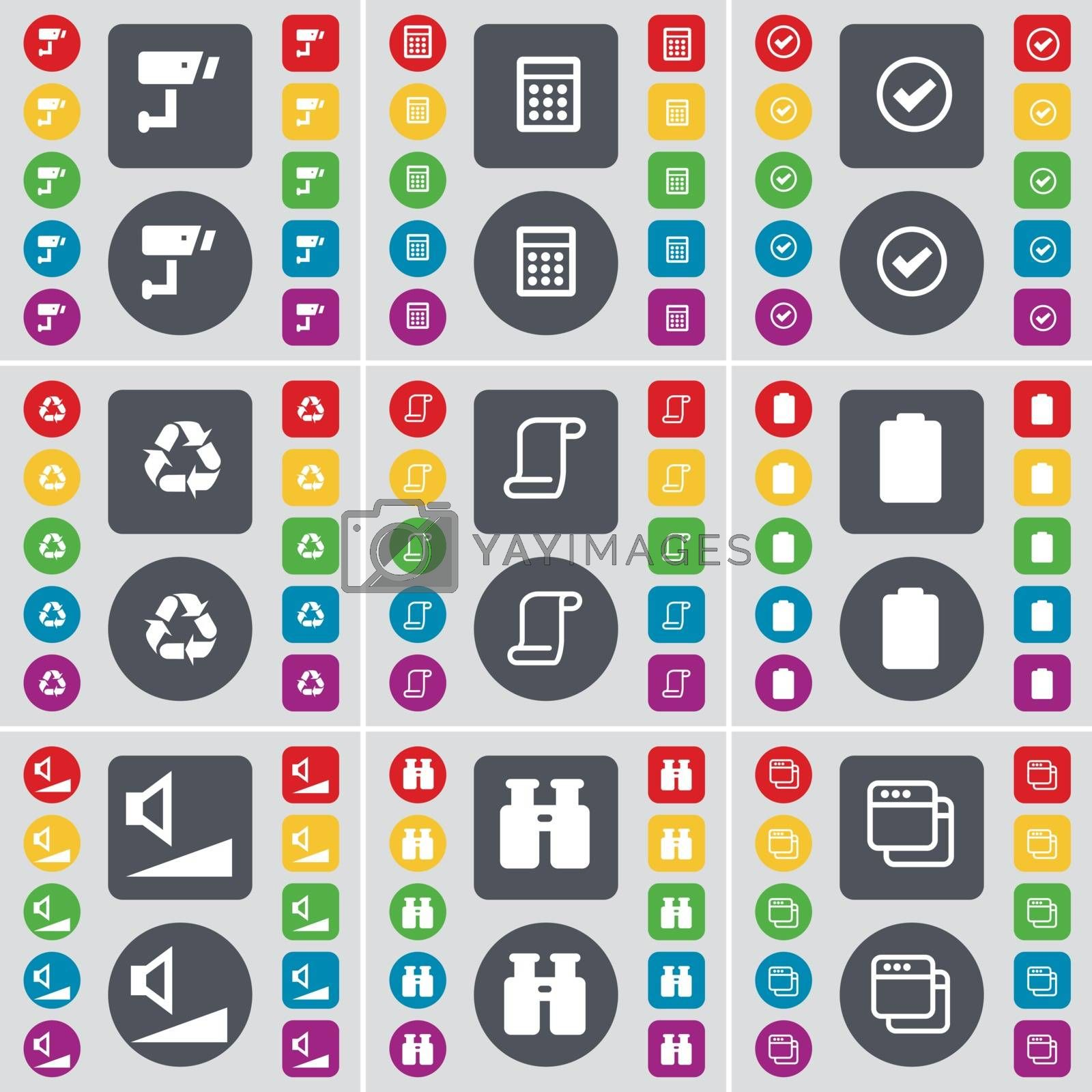 Royalty free image of CCTV, Calculator, Tick, Recycling, Scroll, Battery, Volume, Binoculars, Window icon symbol. A large set of flat, colored buttons for your design. Vector by serhii_lohvyniuk