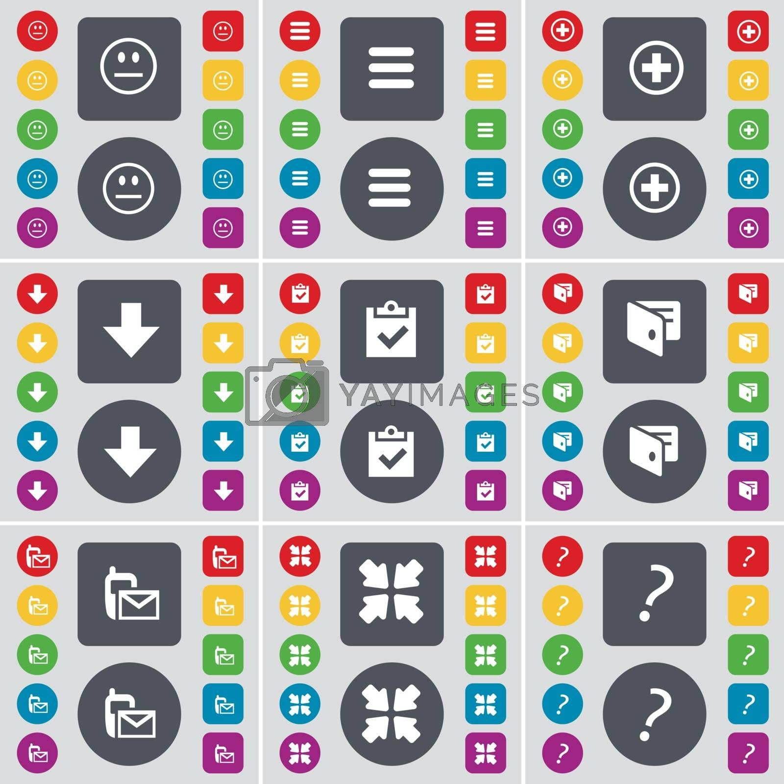 Royalty free image of Smile, Apps, Plus, Arrow down, Survey, Wallet, SMS, Deploying screen, Question mark icon symbol. A large set of flat, colored buttons for your design. Vector by serhii_lohvyniuk