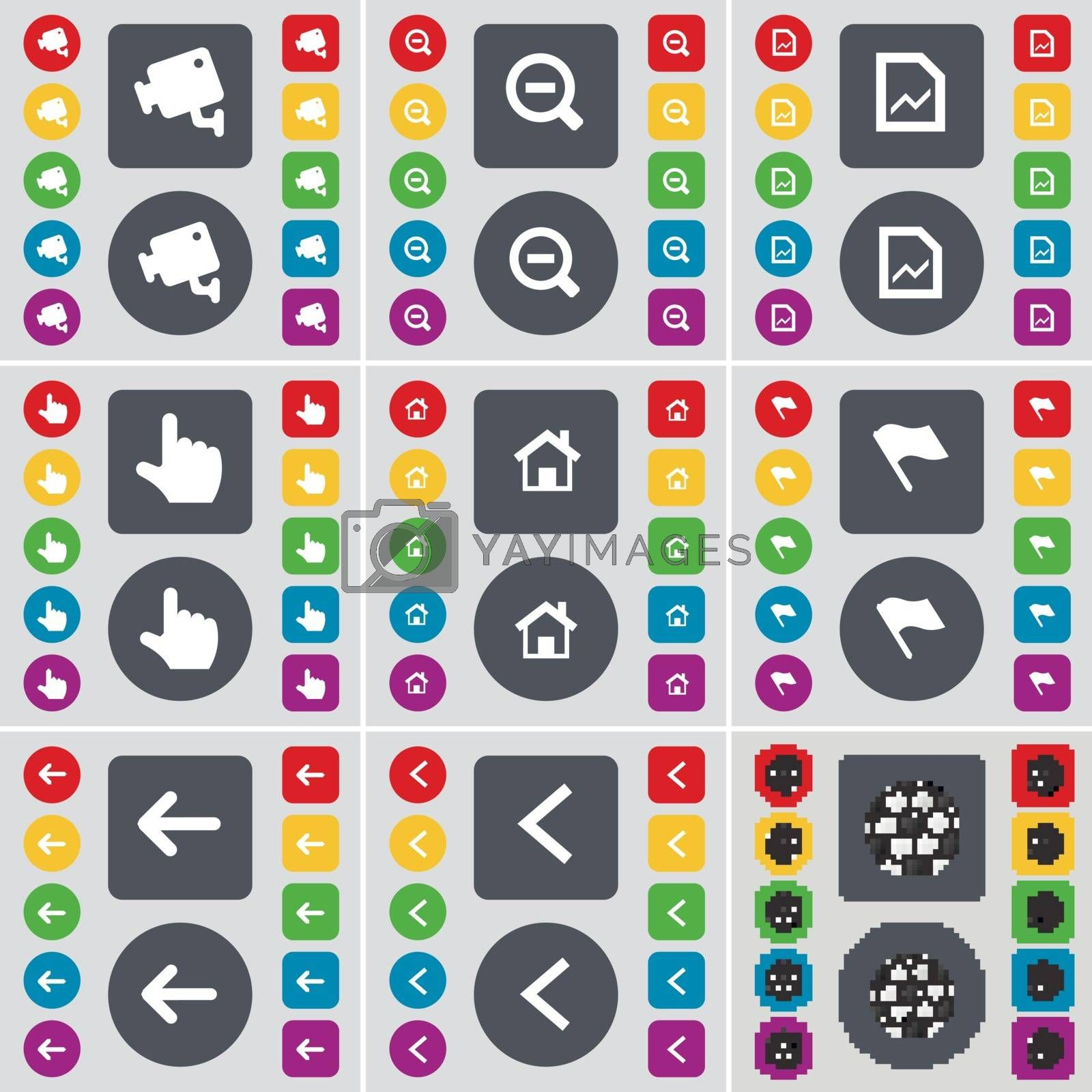 CCTV, Minus, Graph, Hand, House, Flag, Arrow left, Ball icon symbol. A large set of flat, colored buttons for your design. Vector by serhii_lohvyniuk