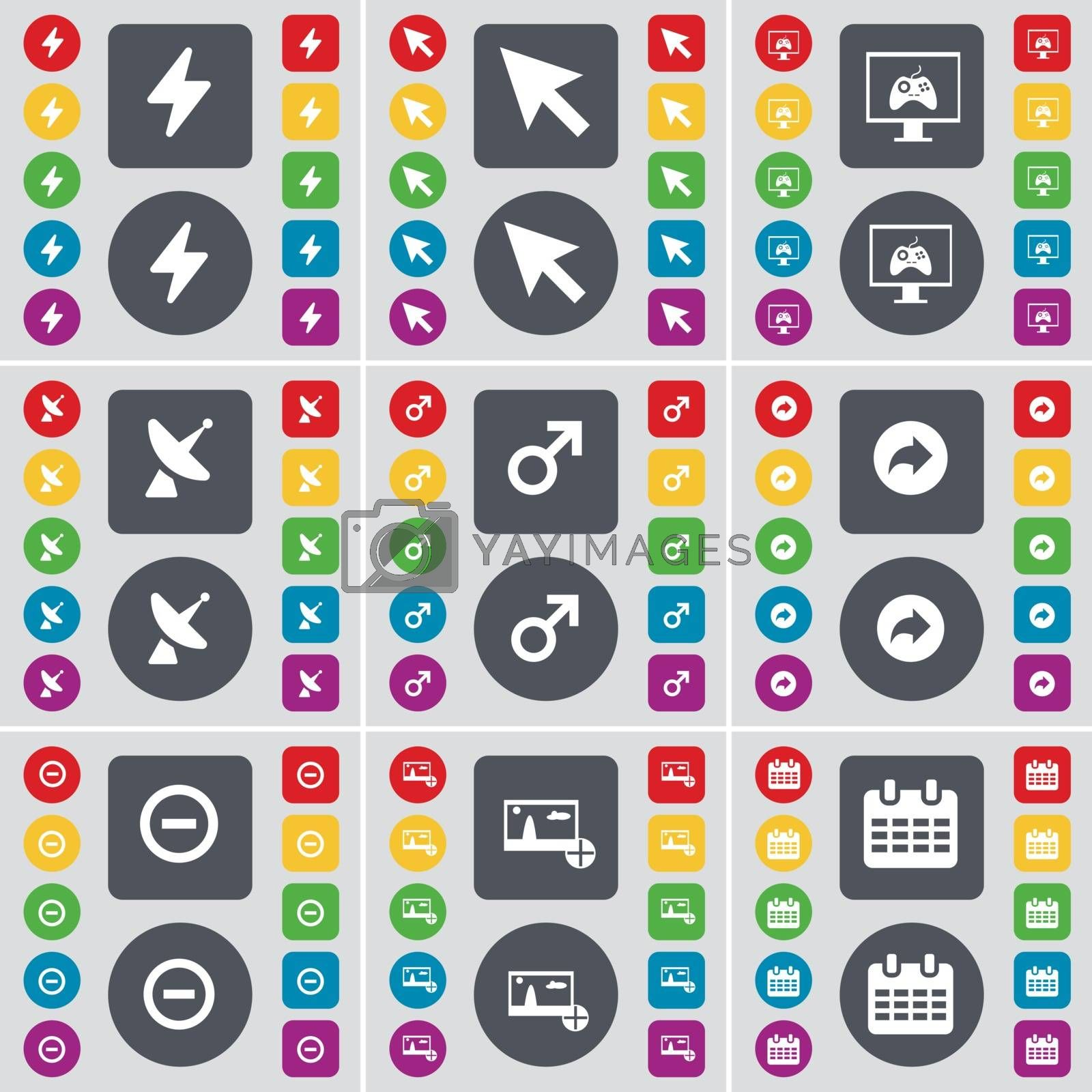 Royalty free image of Flash, Cursor, Game console, Satellite dish, Mars symbol, Back, Minus, Picture, Calendar icon symbol. A large set of flat, colored buttons for your design. Vector by serhii_lohvyniuk