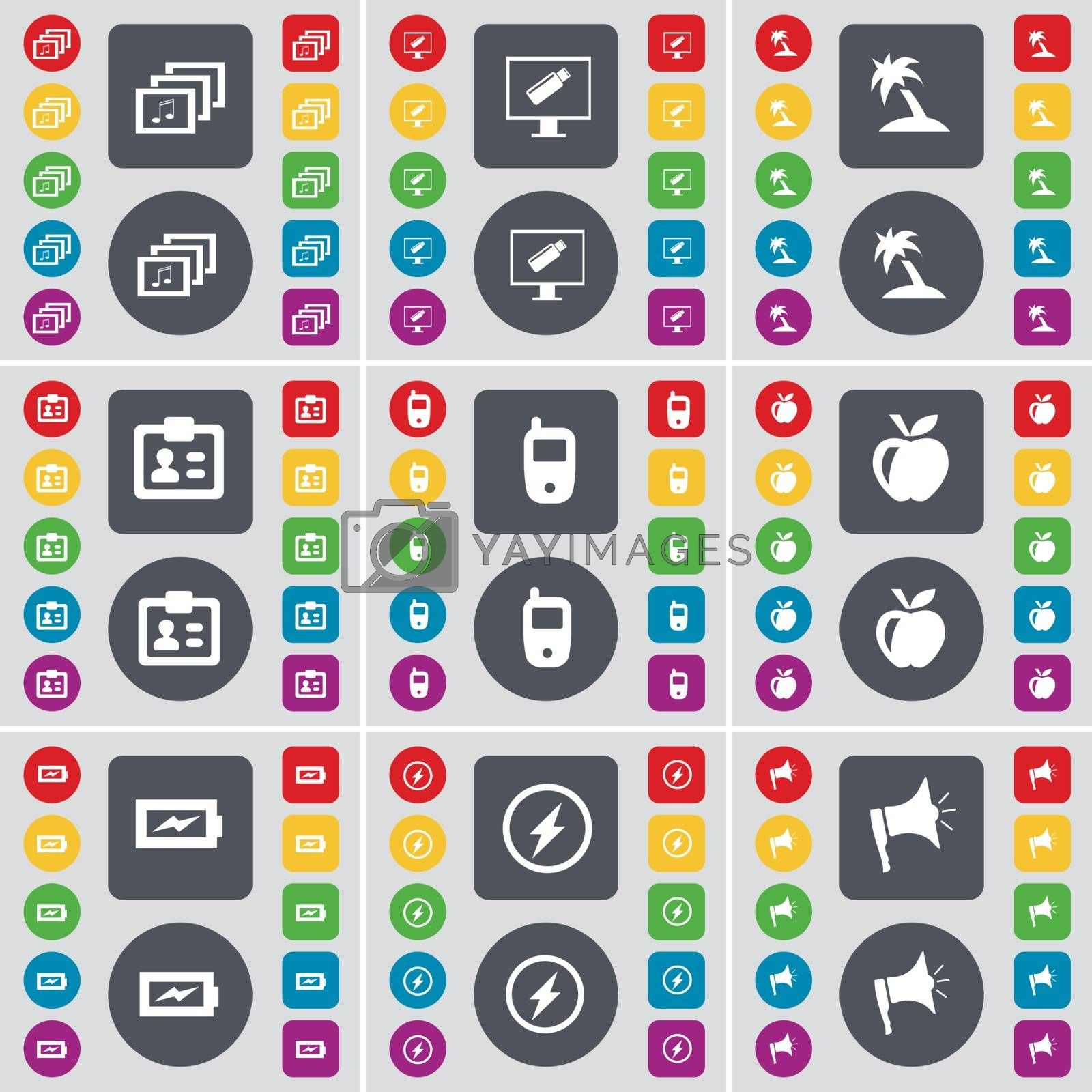 Royalty free image of Gallery, Monitor, Palm, Contact, Mobile phone, Apple, Charging, Flash, Megaphone icon symbol. A large set of flat, colored buttons for your design. Vector by serhii_lohvyniuk