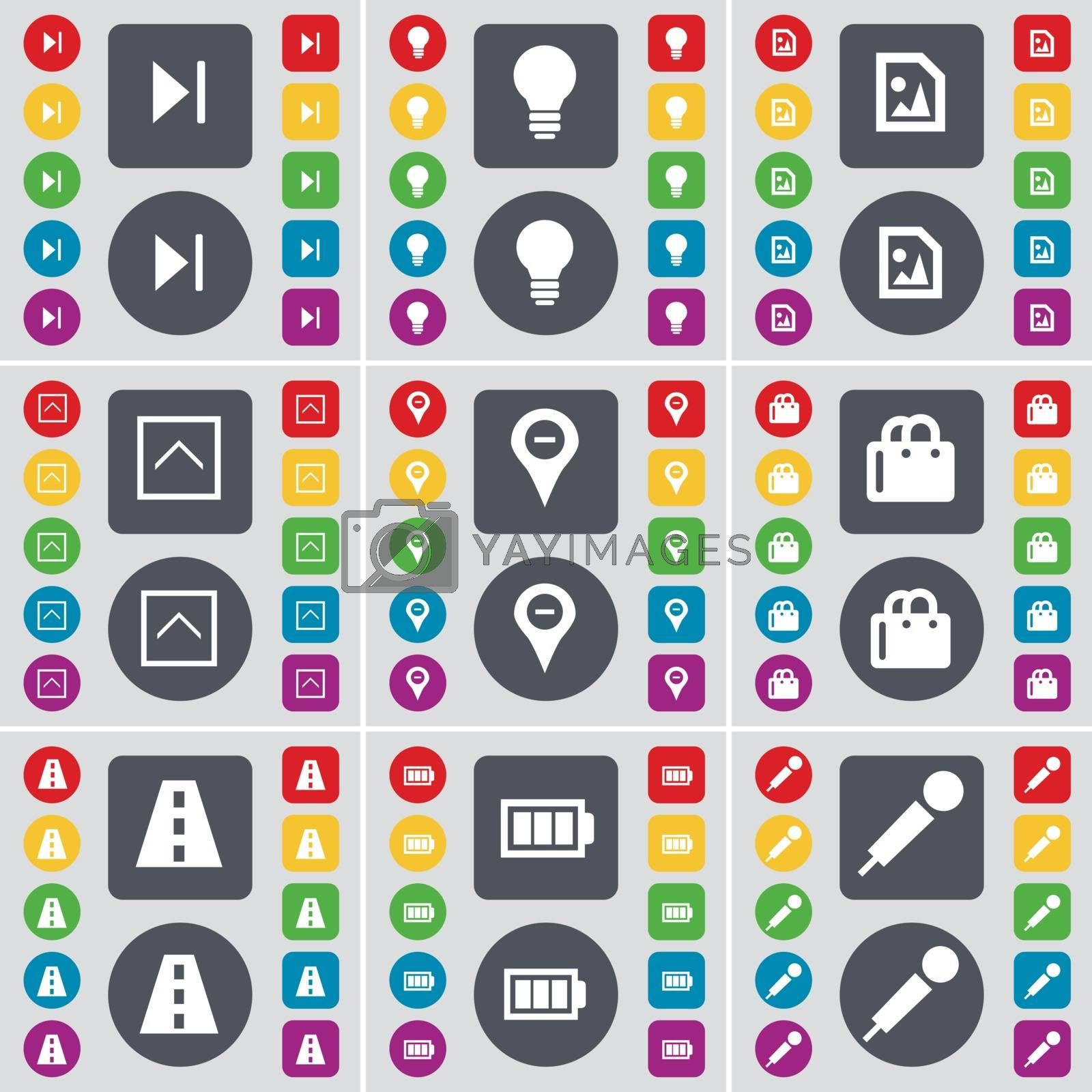 Royalty free image of Media skip, Light bulb, Media file, Arrow up, Checkpoint, Shopping bag, Road, Battery, Microphone icon symbol. A large set of flat, colored buttons for your design. Vector by serhii_lohvyniuk