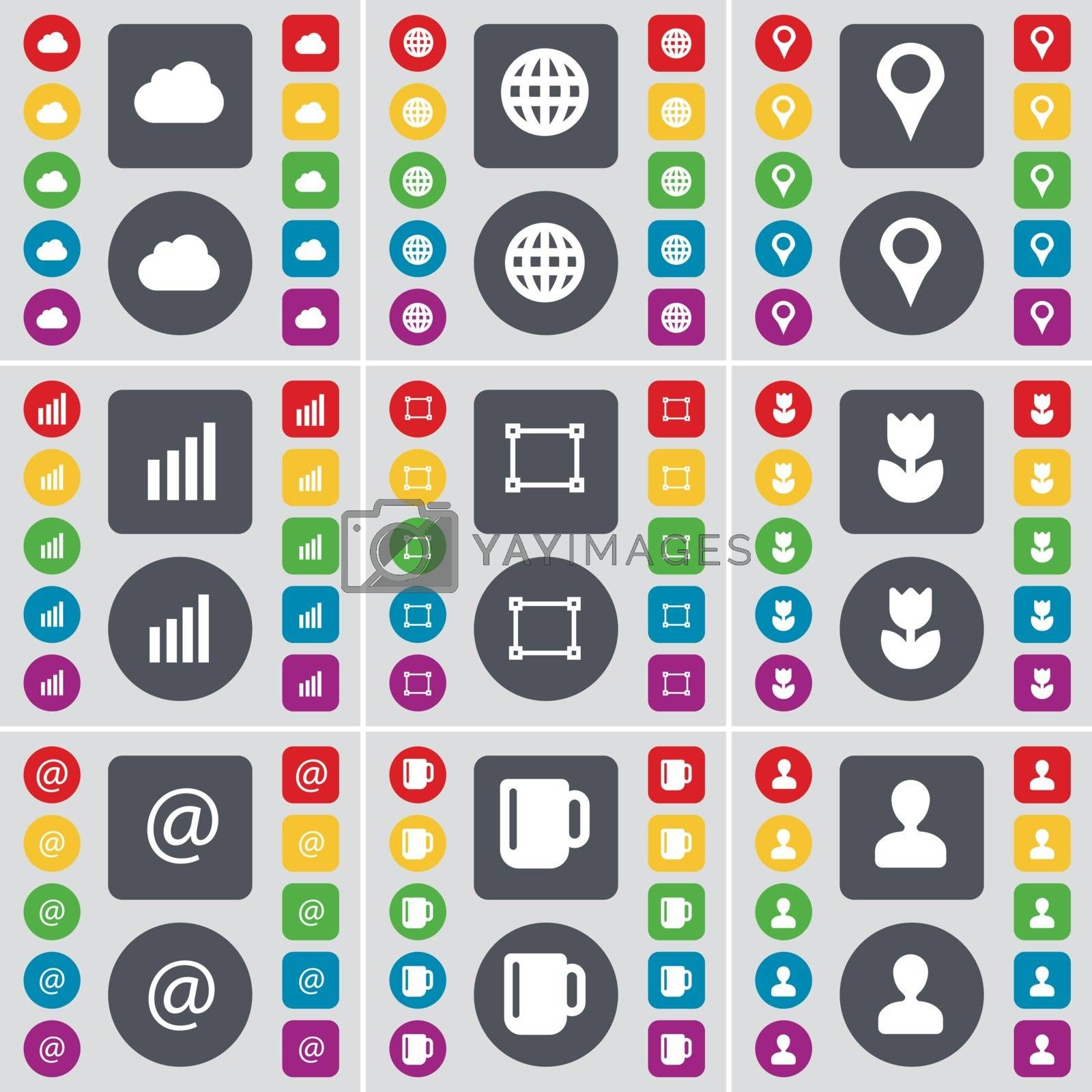 Royalty free image of Cloud, Globe, Checkpoint, Diagram, Frame, Flower, Mail, Cup, Avatar icon symbol. A large set of flat, colored buttons for your design. Vector by serhii_lohvyniuk