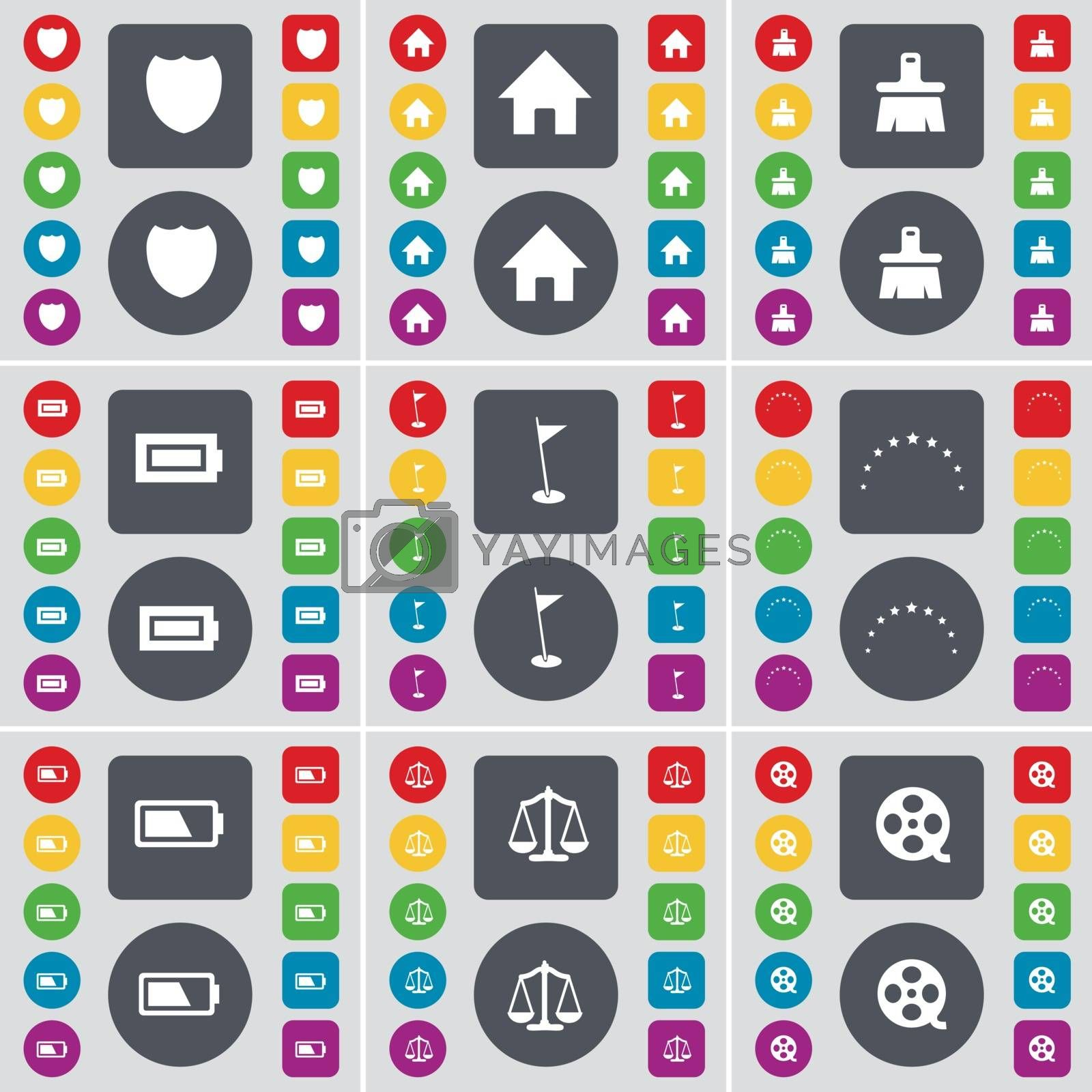Royalty free image of Badge, House, Brush, Battery, Golf hole, Stars, Scales, Videotape icon symbol. A large set of flat, colored buttons for your design. Vector by serhii_lohvyniuk