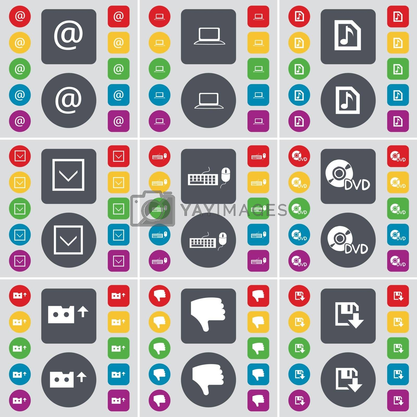 Royalty free image of Mail, Laptop, Music file, Arrow down, Keyboard, DVD, Cassette, Dislike, Floppy icon symbol. A large set of flat, colored buttons for your design. Vector by serhii_lohvyniuk