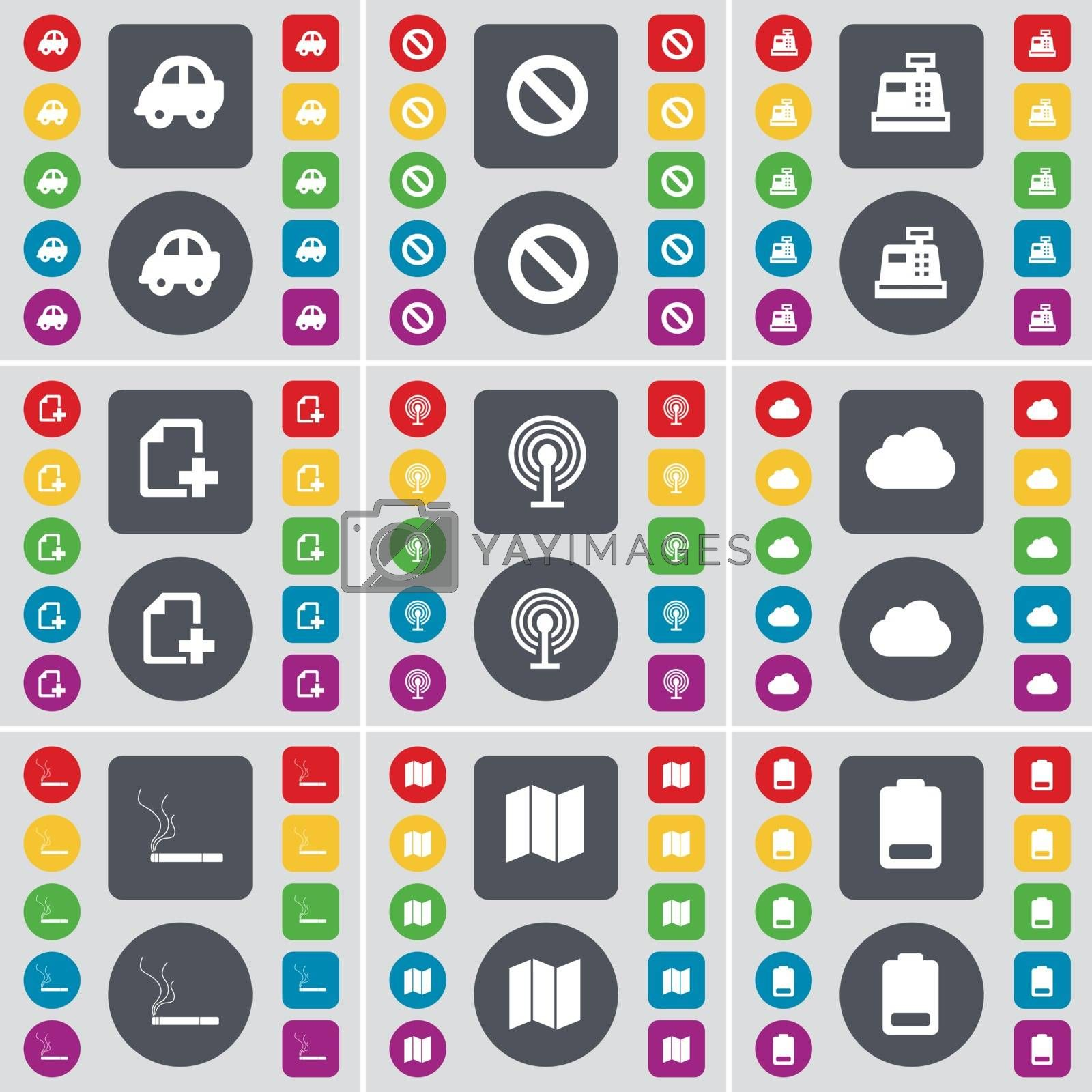 Royalty free image of Car, Stop, Cash register, File, Wi-Fi, Cloud, Cigarette, Map, Battery icon symbol. A large set of flat, colored buttons for your design. Vector by serhii_lohvyniuk