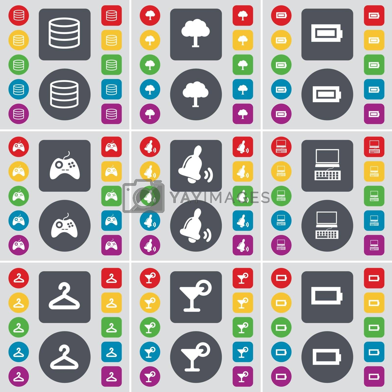Database, Tree, Battery, Gamepad, Bell, Laptop, Hanger, Cocktail, Battery icon symbol. A large set of flat, colored buttons for your design. Vector by serhii_lohvyniuk