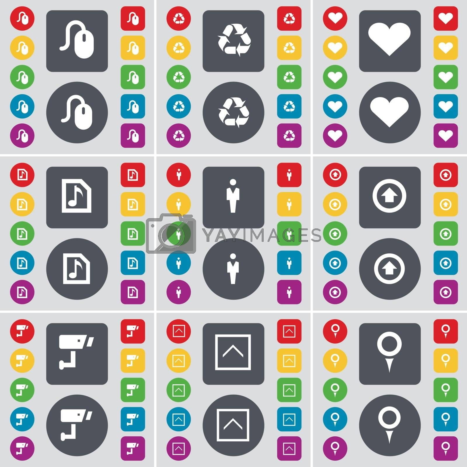 Royalty free image of Mouse, Recycling, Heart, Music file, Silhouette, Arrow up, CCTV, Arrow up, Checkpoint icon symbol. A large set of flat, colored buttons for your design. Vector by serhii_lohvyniuk