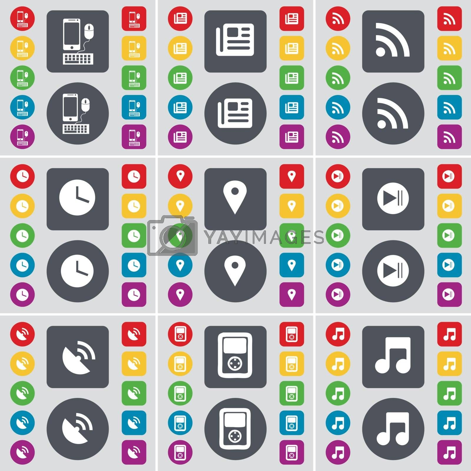Smartphone, Newspaper, RSS, Clock, Checkpoint, Media skip, Satellite dish, Player, Note icon symbol. A large set of flat, colored buttons for your design. Vector by serhii_lohvyniuk