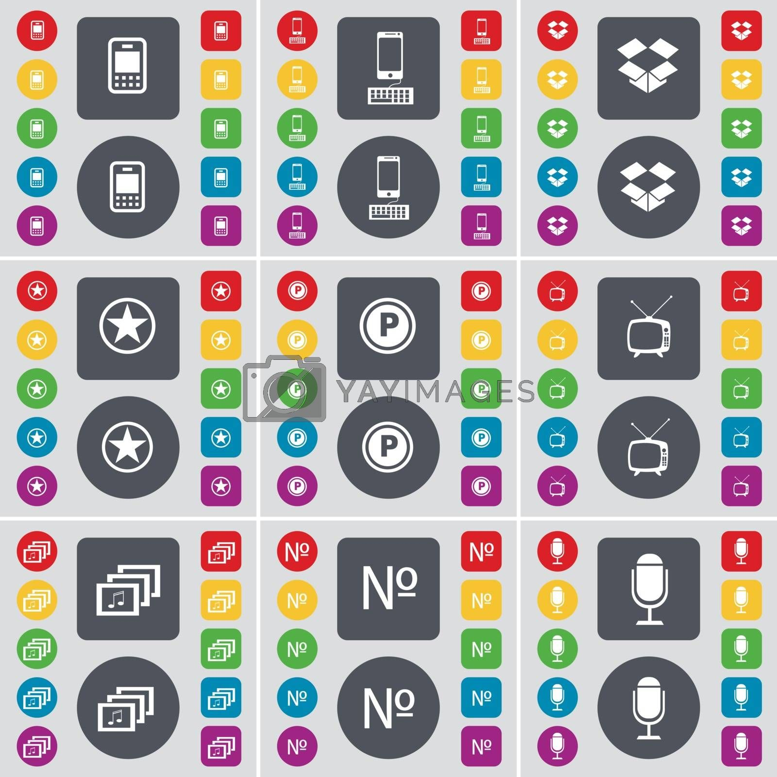 Royalty free image of Mobile phone, Smartphone, Dropbox, Star, Parking, Retro TV, Gallery, Number, Microphone icon symbol. A large set of flat, colored buttons for your design. Vector by serhii_lohvyniuk