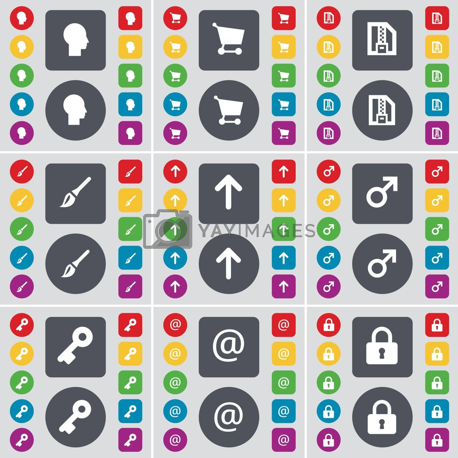 Royalty free image of Silhouette, Shopping cart, ZIP file, Brush, Arrow up, Mars symbol, Key, Mail, Lock icon symbol. A large set of flat, colored buttons for your design. Vector by serhii_lohvyniuk