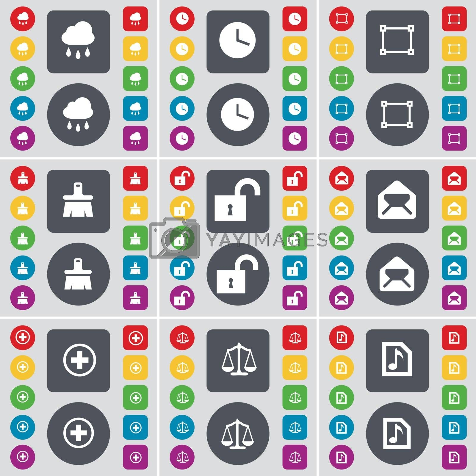 Royalty free image of Cloud, Clock, Frame, Brush, Lock, Message, Plus, Scales, Music file icon symbol. A large set of flat, colored buttons for your design. Vector by serhii_lohvyniuk