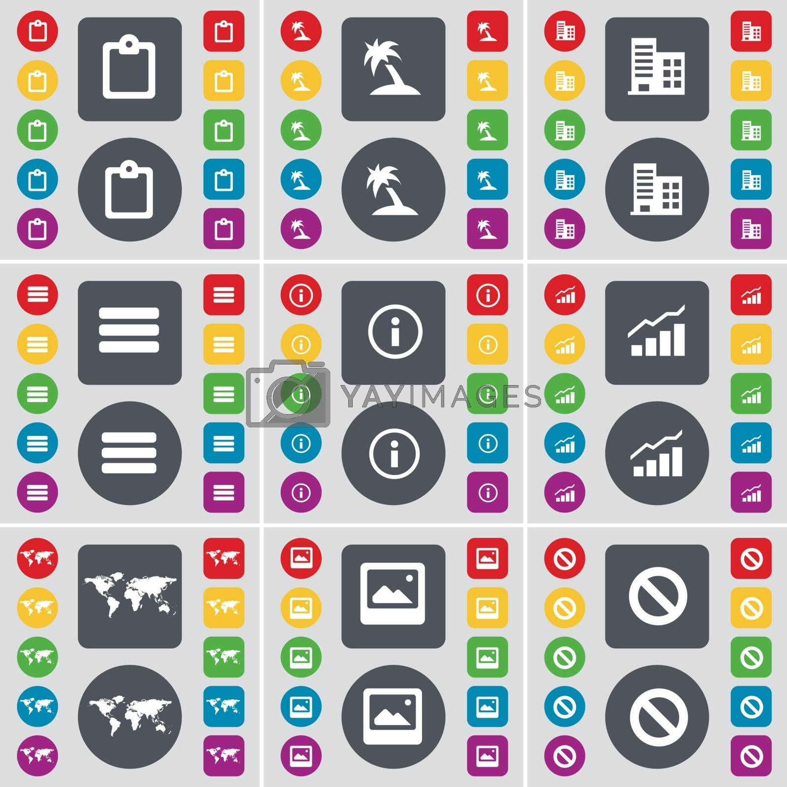Royalty free image of Survey, Palm, Building, Apps, Information, Graph, Globe, Window, Stop icon symbol. A large set of flat, colored buttons for your design. Vector by serhii_lohvyniuk