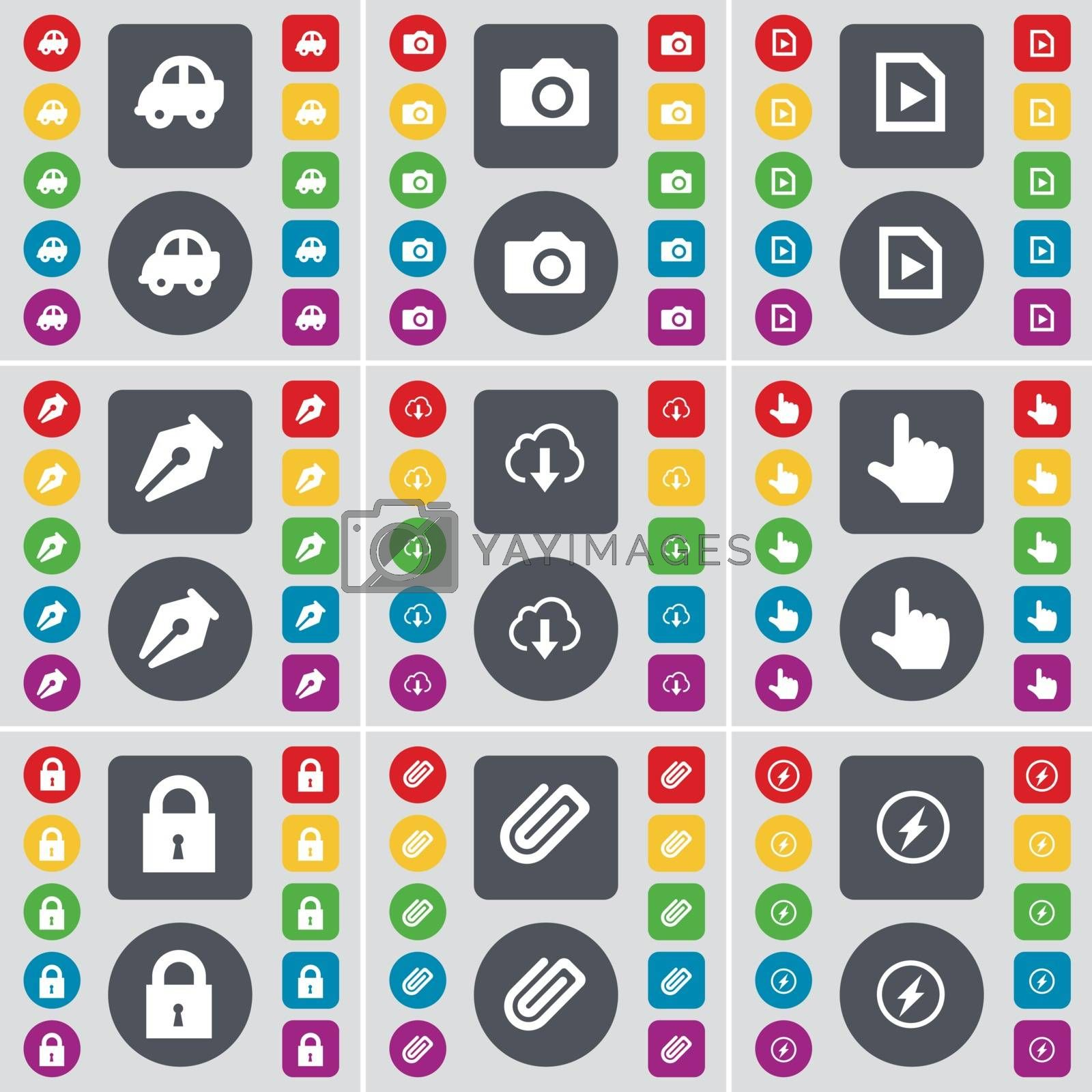 Royalty free image of Car, Camera, Media file, Ink pen, Cloud, Hand, Lock, Clip, Flash icon symbol. A large set of flat, colored buttons for your design. Vector by serhii_lohvyniuk