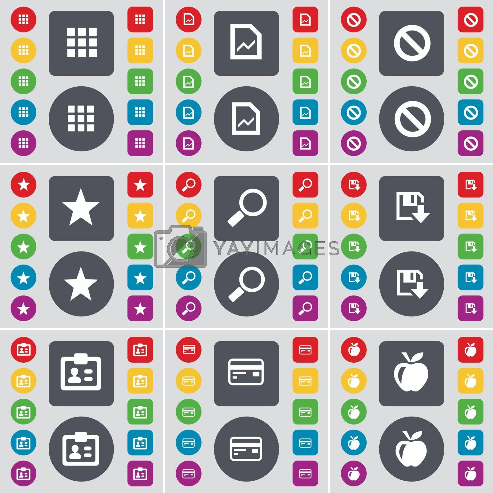 Royalty free image of Apps, Graph file, Stop, Star, Magnifying glass, Floppy, Contact, Credit card, Apple icon symbol. A large set of flat, colored buttons for your design. Vector by serhii_lohvyniuk