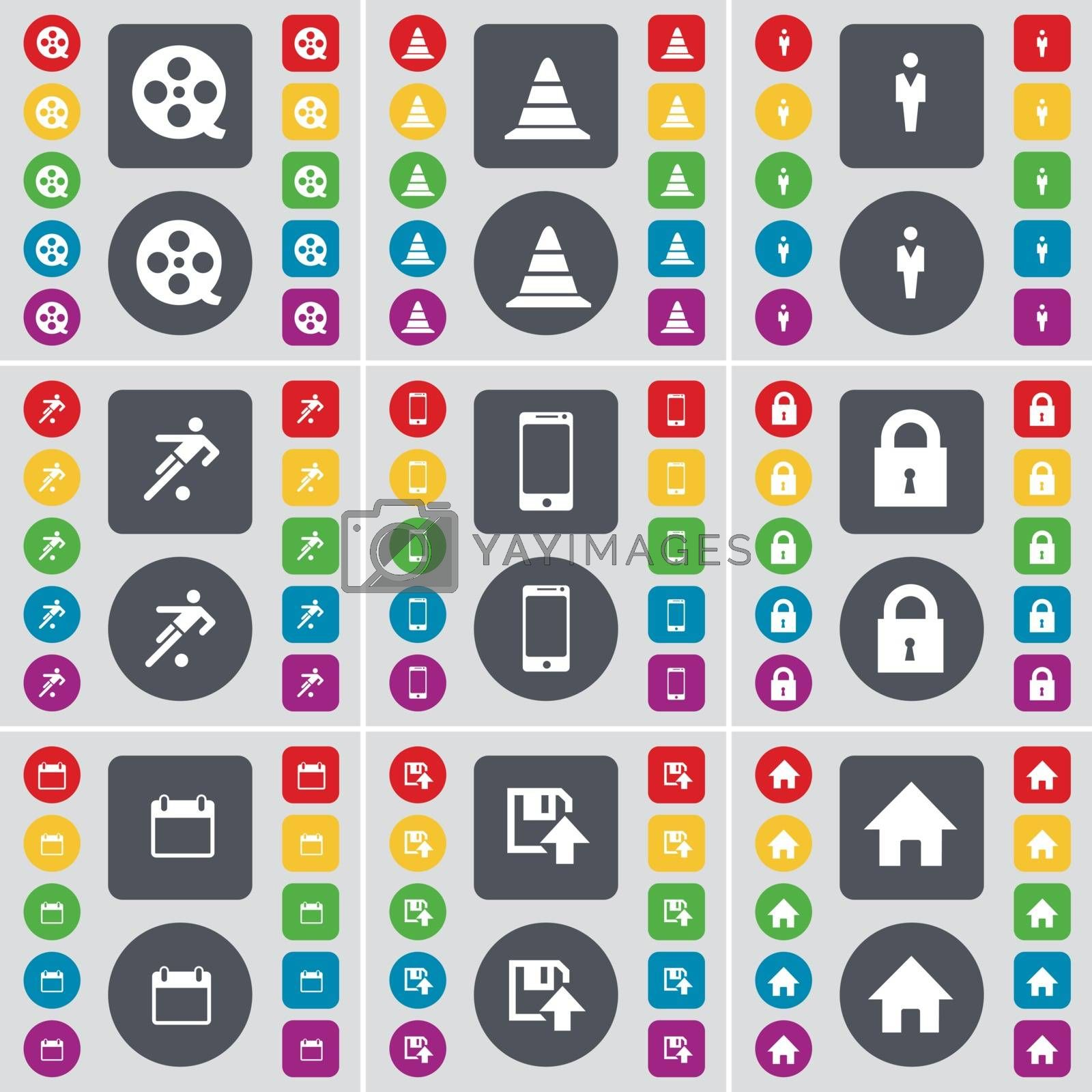 Royalty free image of Videotape, Cone, Silhouette, Football, Smartphone, Lock, Calendar, Floppy, House icon symbol. A large set of flat, colored buttons for your design. Vector by serhii_lohvyniuk
