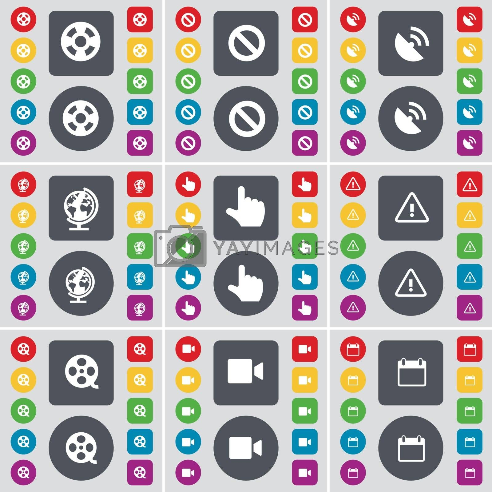 Royalty free image of Videotape, Stop, Satellite dish, Globe, Hand, Warning, Videotape, Film camera, Calendar icon symbol. A large set of flat, colored buttons for your design. Vector by serhii_lohvyniuk