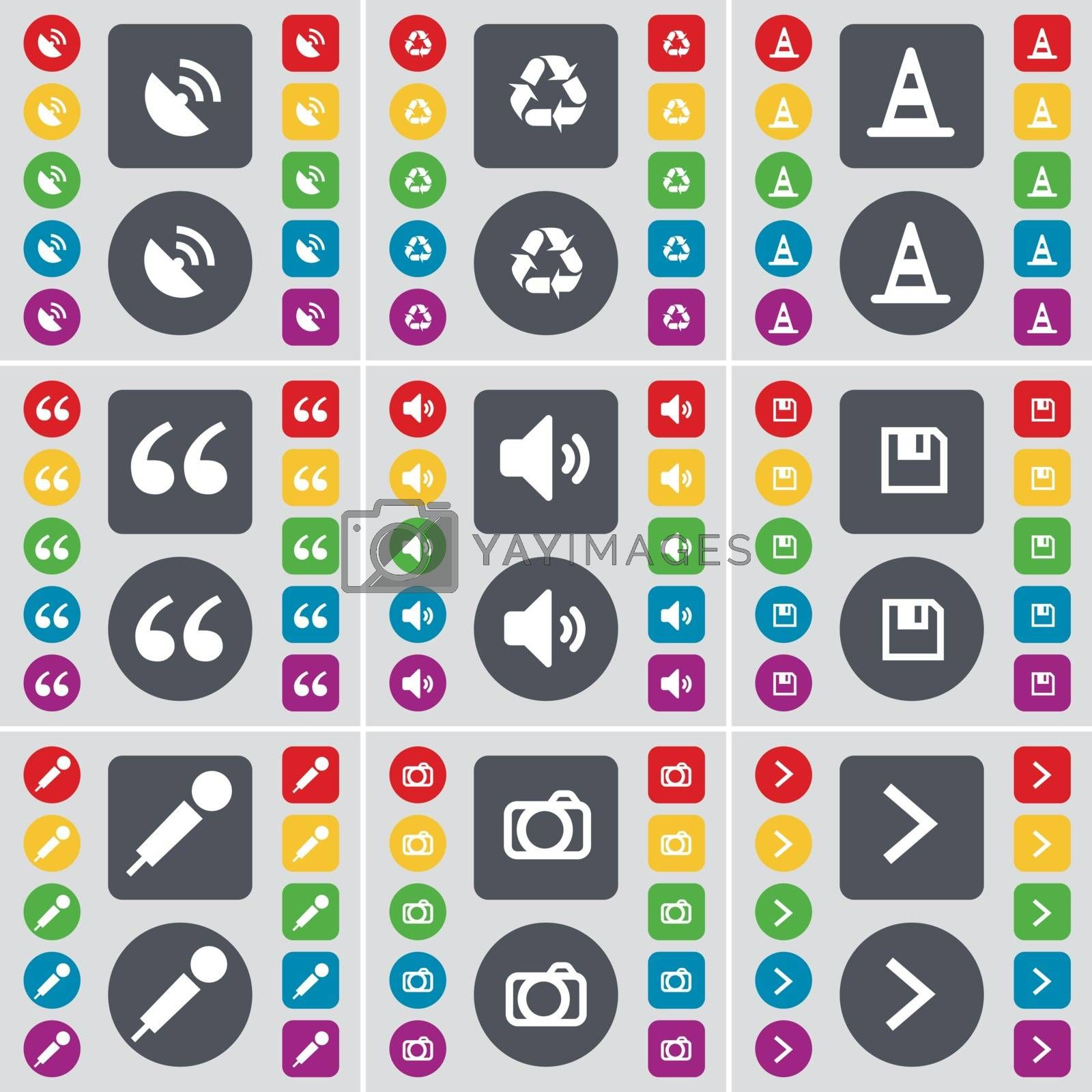 Royalty free image of Satellite dish, Recycling, Cone, Quotation mark, Sound, Floppy, Microphone, Camera, Arrow right icon symbol. A large set of flat, colored buttons for your design. Vector by serhii_lohvyniuk