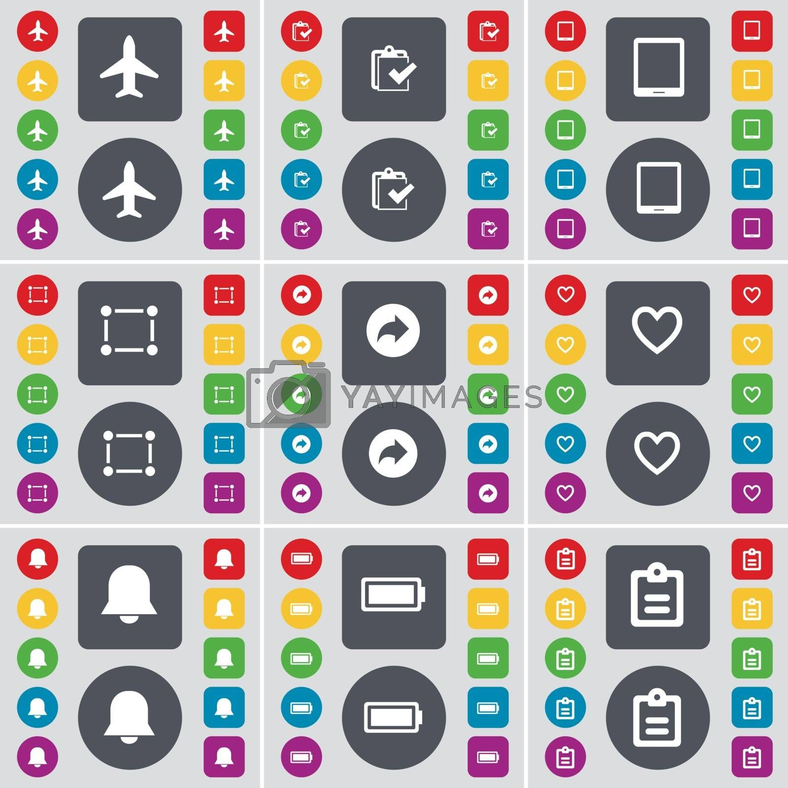 Royalty free image of Airplane, Survey, Tablet PC, Frame, Back, Heart, Notiification, Battery, Survey icon symbol. A large set of flat, colored buttons for your design. Vector by serhii_lohvyniuk