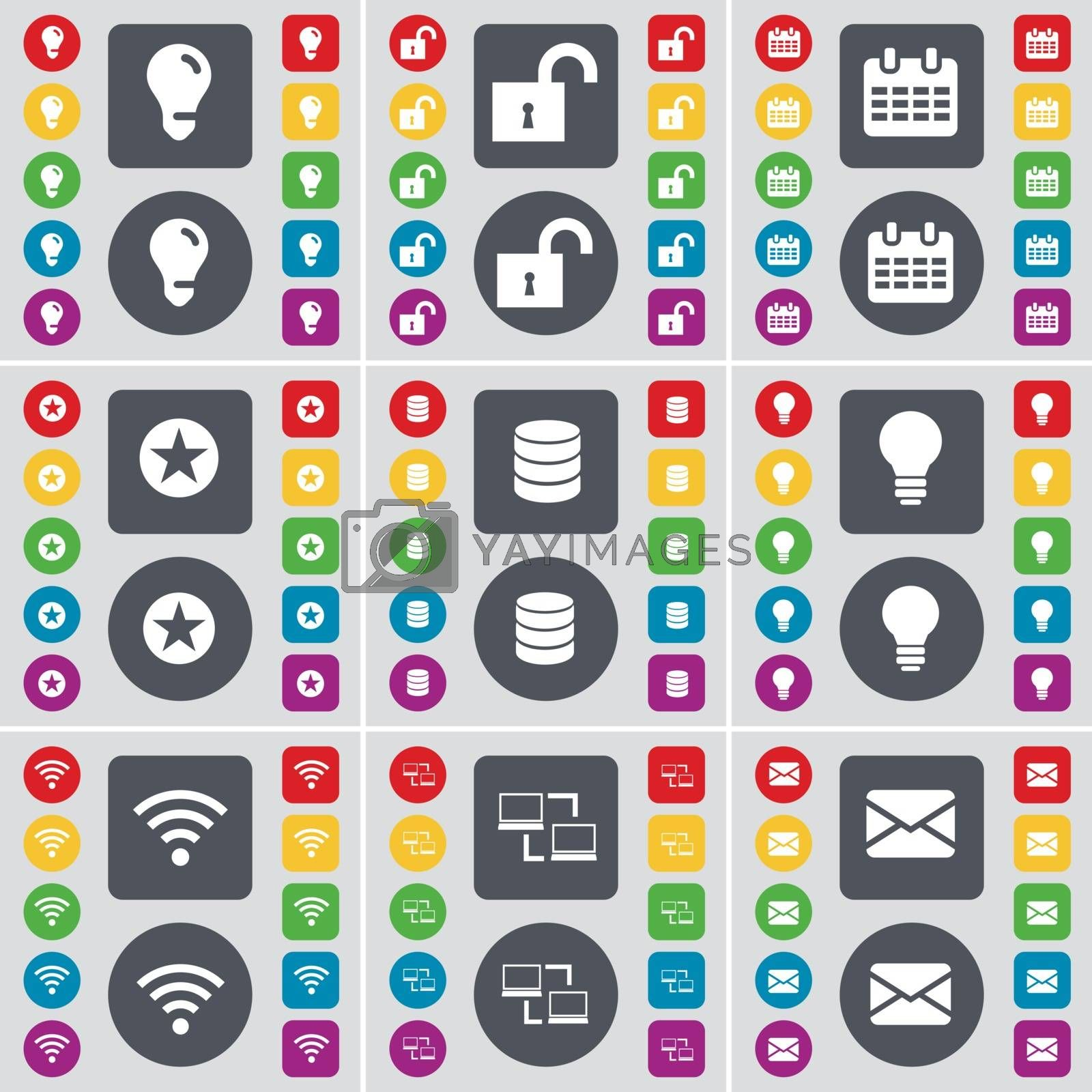 Royalty free image of Light bulb, Lock, Calendar, Star, Database, Light bulb, Wi-Fi, Connection, Message icon symbol. A large set of flat, colored buttons for your design. Vector by serhii_lohvyniuk