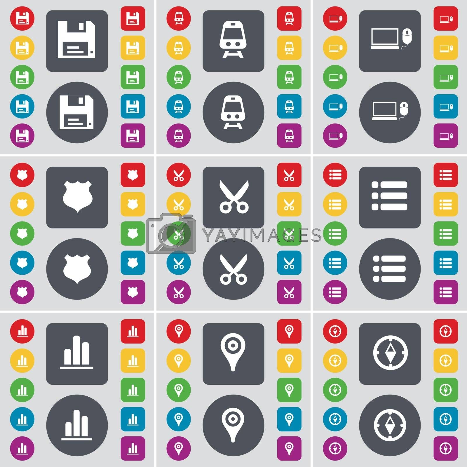 Royalty free image of Floppy, Train, Laptop, Police badge, Scissors, List, Diagram, Checkpoint, Compass icon symbol. A large set of flat, colored buttons for your design. Vector by serhii_lohvyniuk