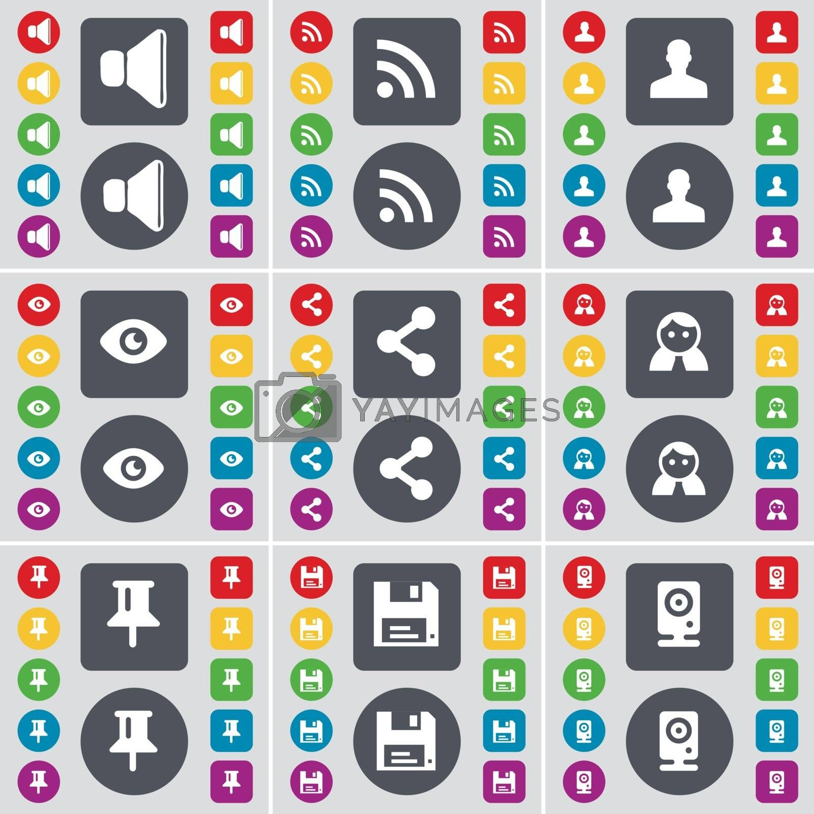 Royalty free image of Sound, RSS, Avatar, Vision, Share, Silhouette, Pin, Floppy, Speaker icon symbol. A large set of flat, colored buttons for your design. Vector by serhii_lohvyniuk