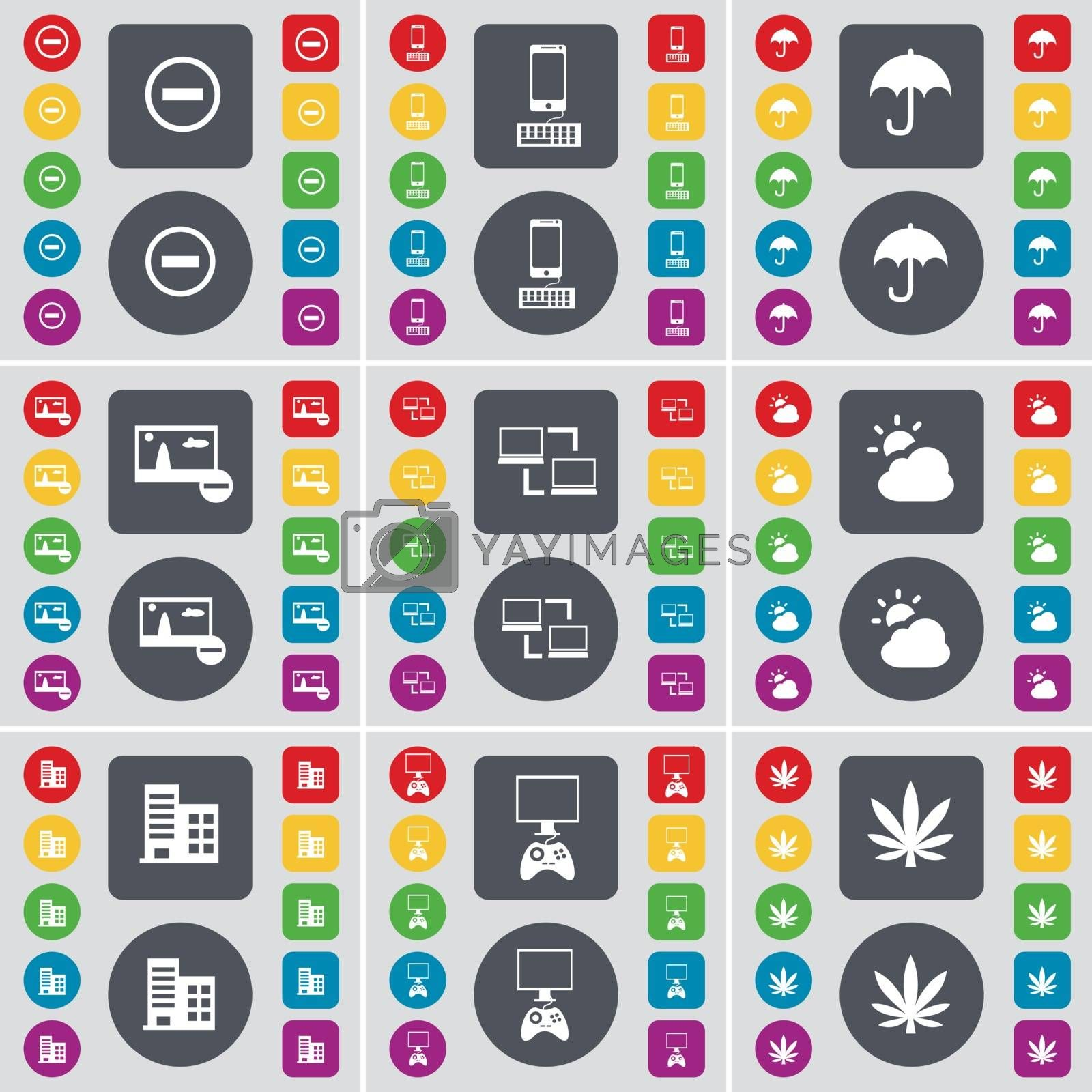 Royalty free image of Minus, Smartphone, Umbrella, Picture, Connection, Cloud, Building, Game console, Marijuana icon symbol. A large set of flat, colored buttons for your design. Vector by serhii_lohvyniuk