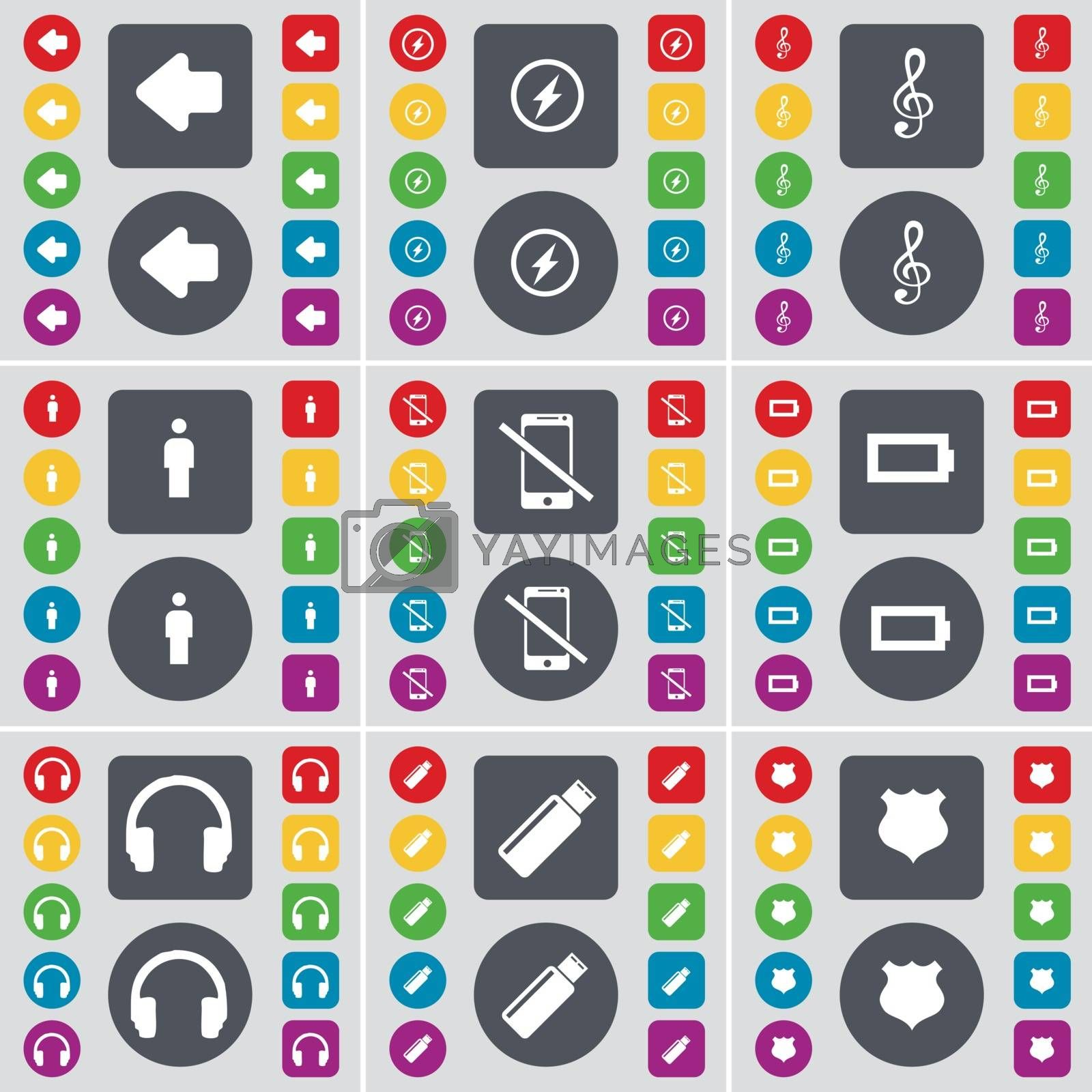 Royalty free image of Arrow left, Flash, Clef, Silhouette, Smartphone, Battery, Headphones, USB, Police badge icon symbol. A large set of flat, colored buttons for your design. Vector by serhii_lohvyniuk