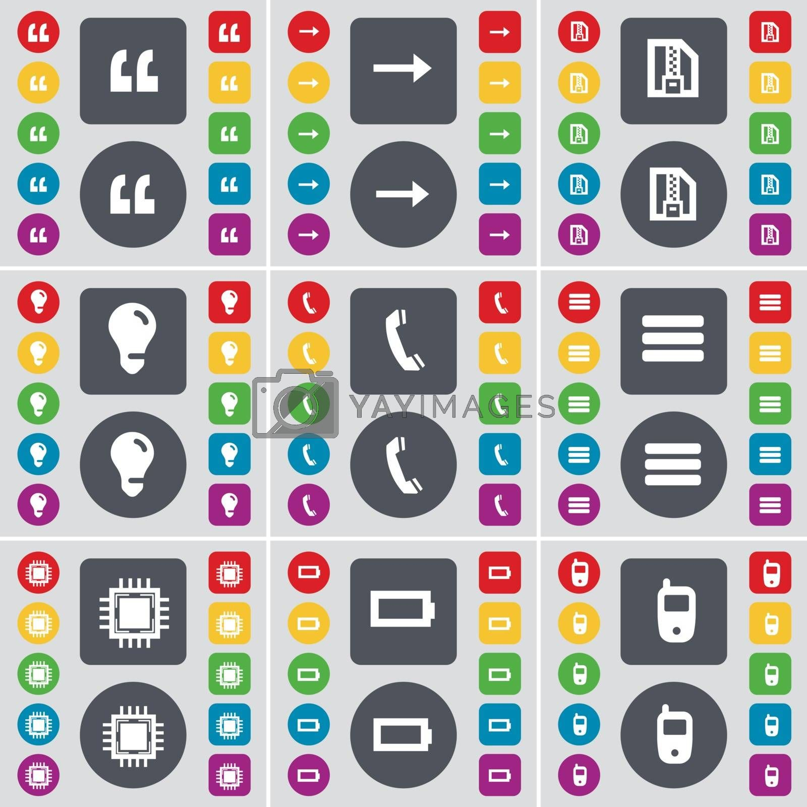 Royalty free image of Quotation mark, Arrow right, ZIP file, Light bulb, Receiver, Apps, Processor, Battery, Mobile phone icon symbol. A large set of flat, colored buttons for your design. Vector by serhii_lohvyniuk